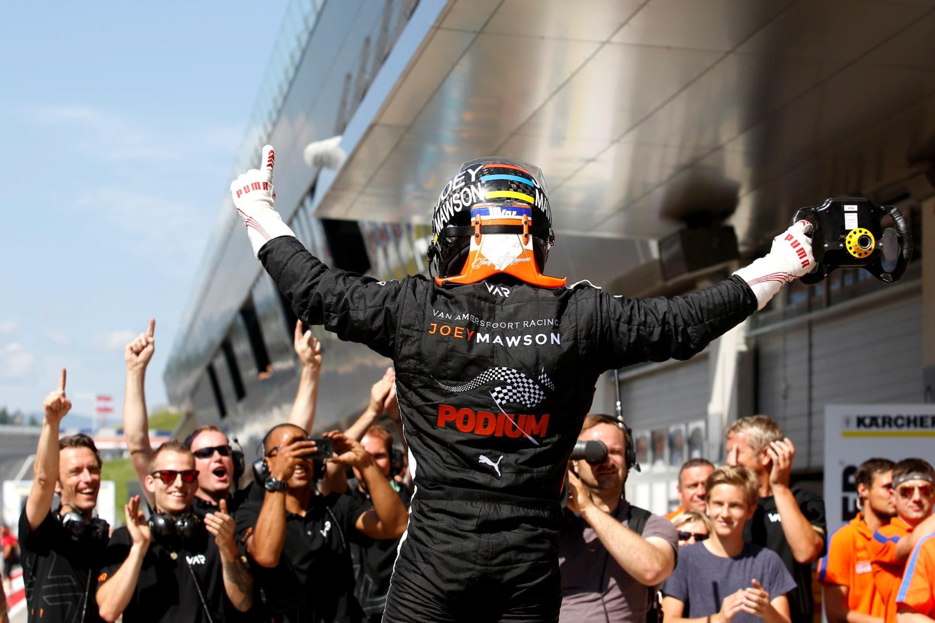 Joey Mawson celebrates with the Van Amersfoort Racing AV team