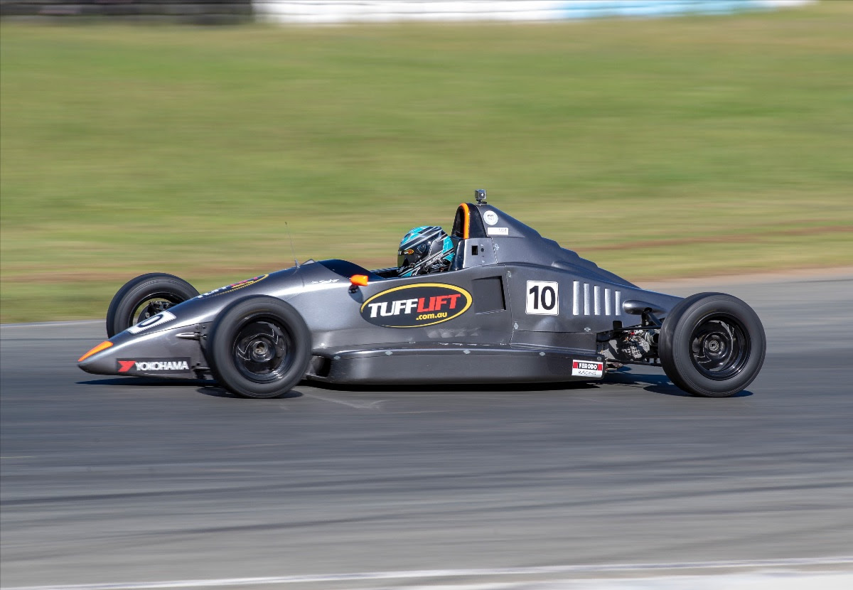 Zac Soutar leads the pack at Queensland Raceway. Photo: Peter Zsidy