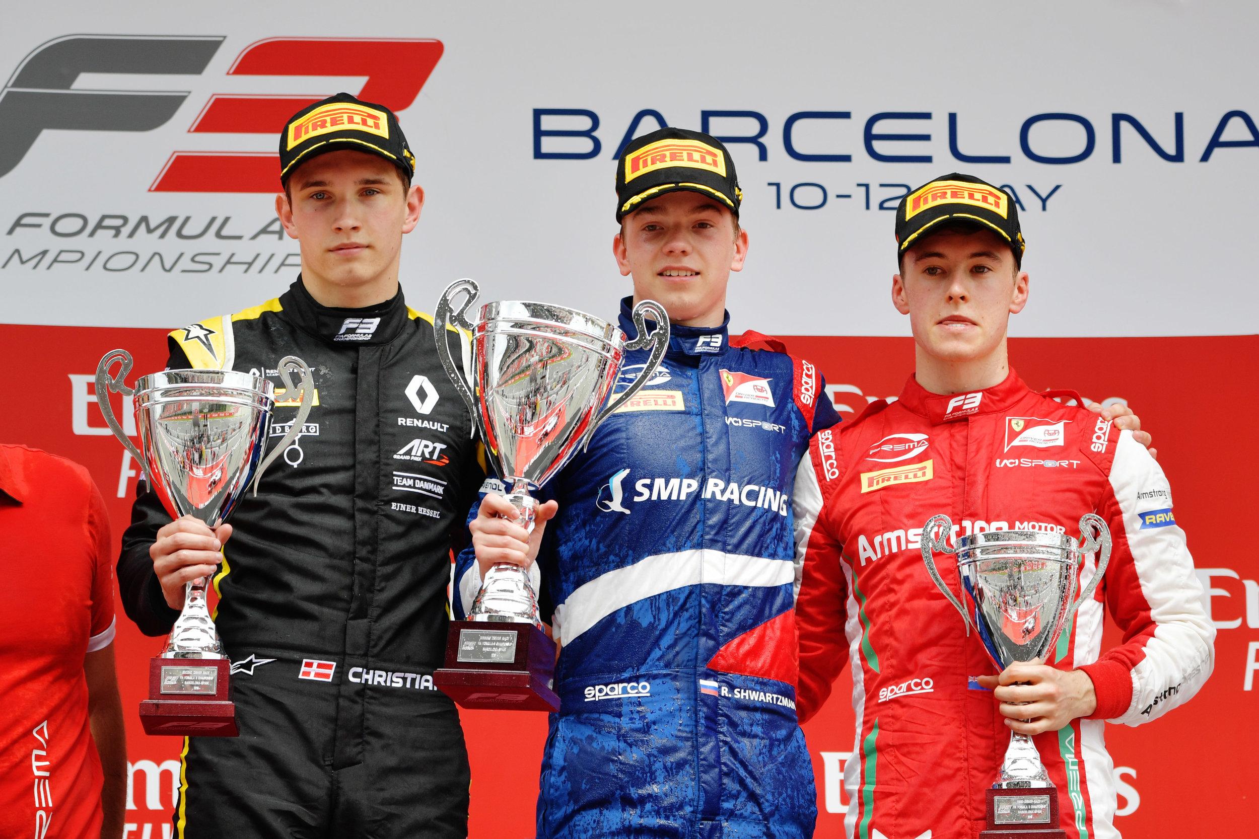 The maiden FIA Formula 3 podium, featuring a somber Lundgaard
