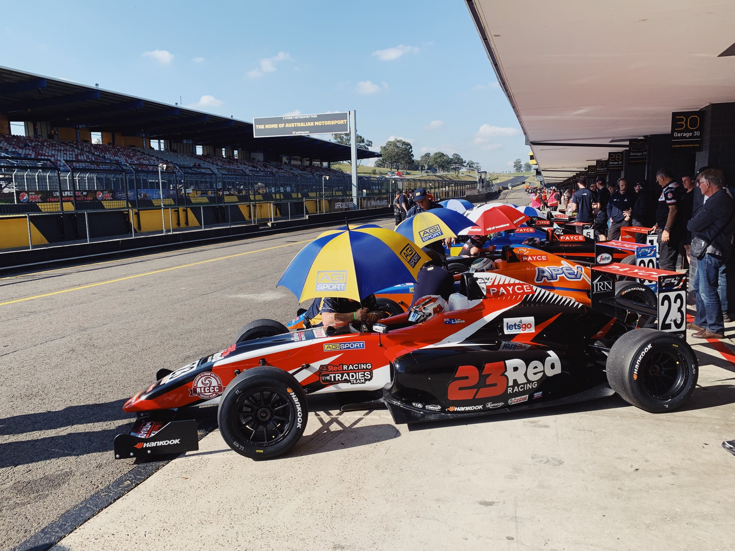 The Formula 4 field lines up before the race.