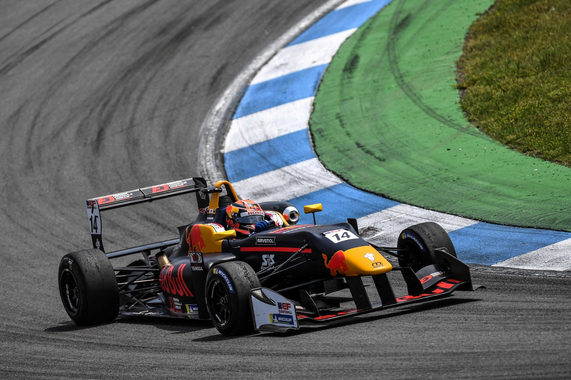Yuki Tsunoda leads at Hockenheim.