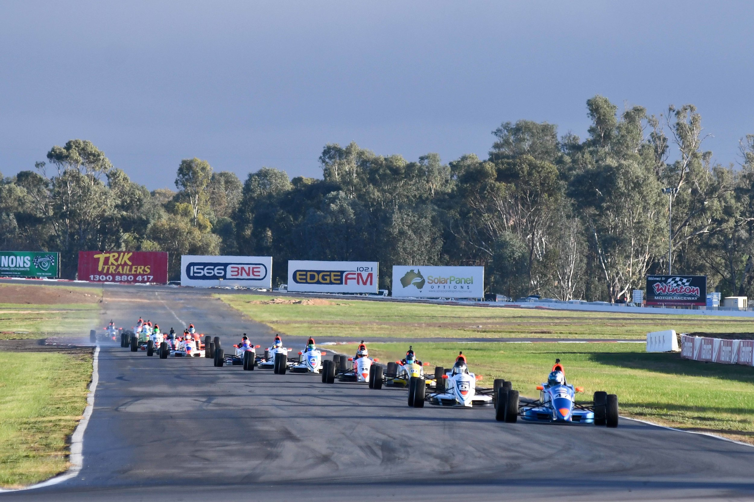 Tom Sargent leads the Formula Ford pack in race 2 ahead of Callum Hedge.