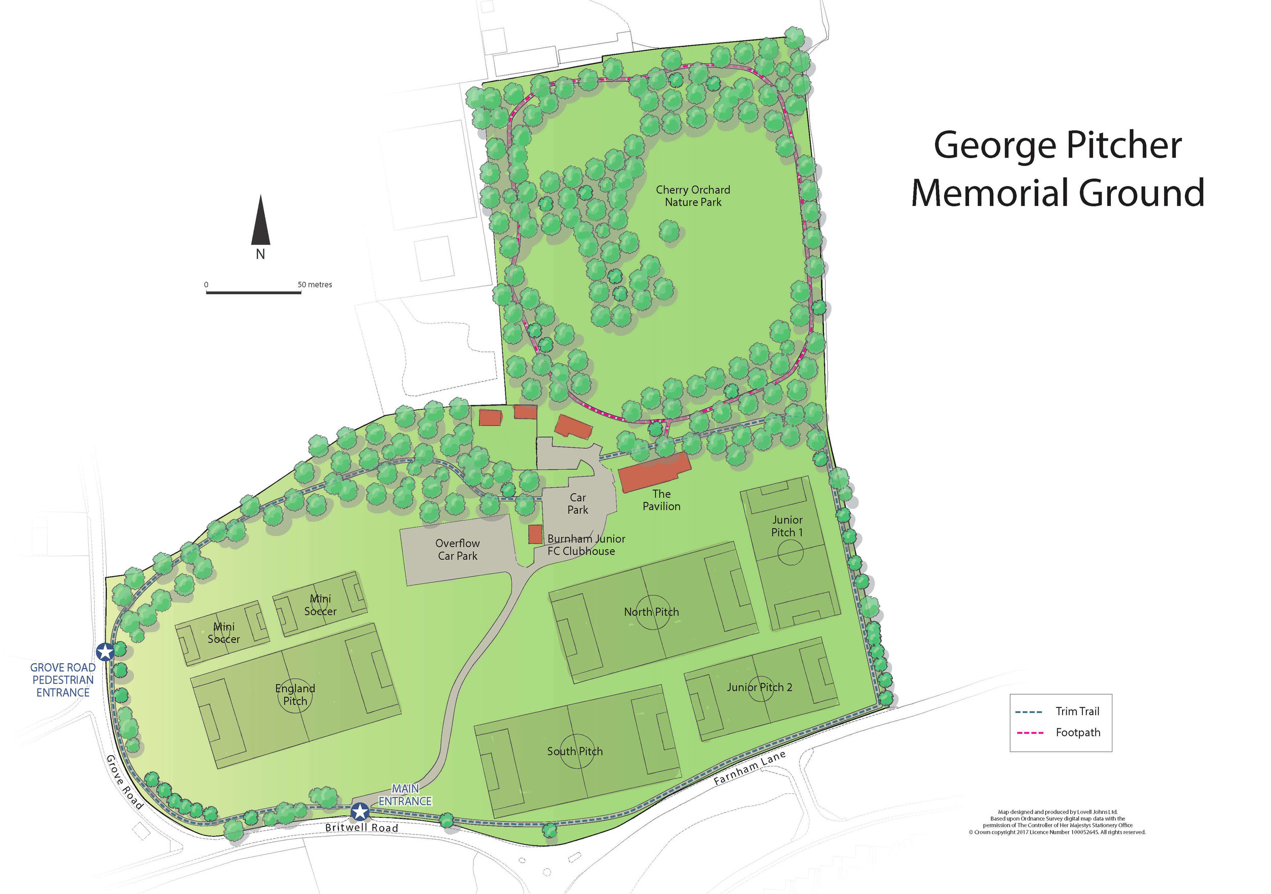 Map of the George Pitcher Memorial Ground