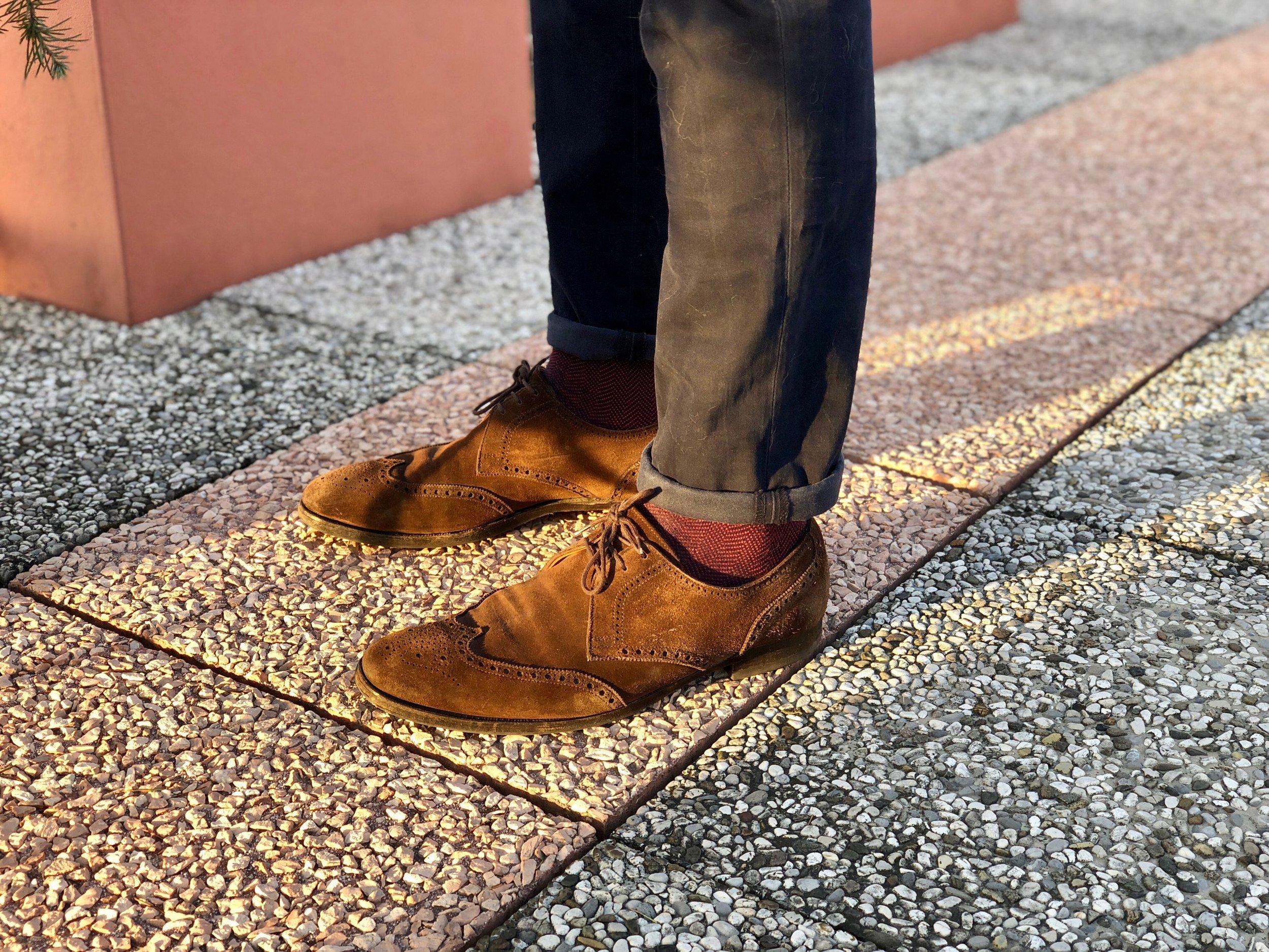 Dondup  chinos,  Alto Milano  socks, seasoned  Ralph Lauren  suede oxford wingtip shoes.  Photo credit: @LucaMontini