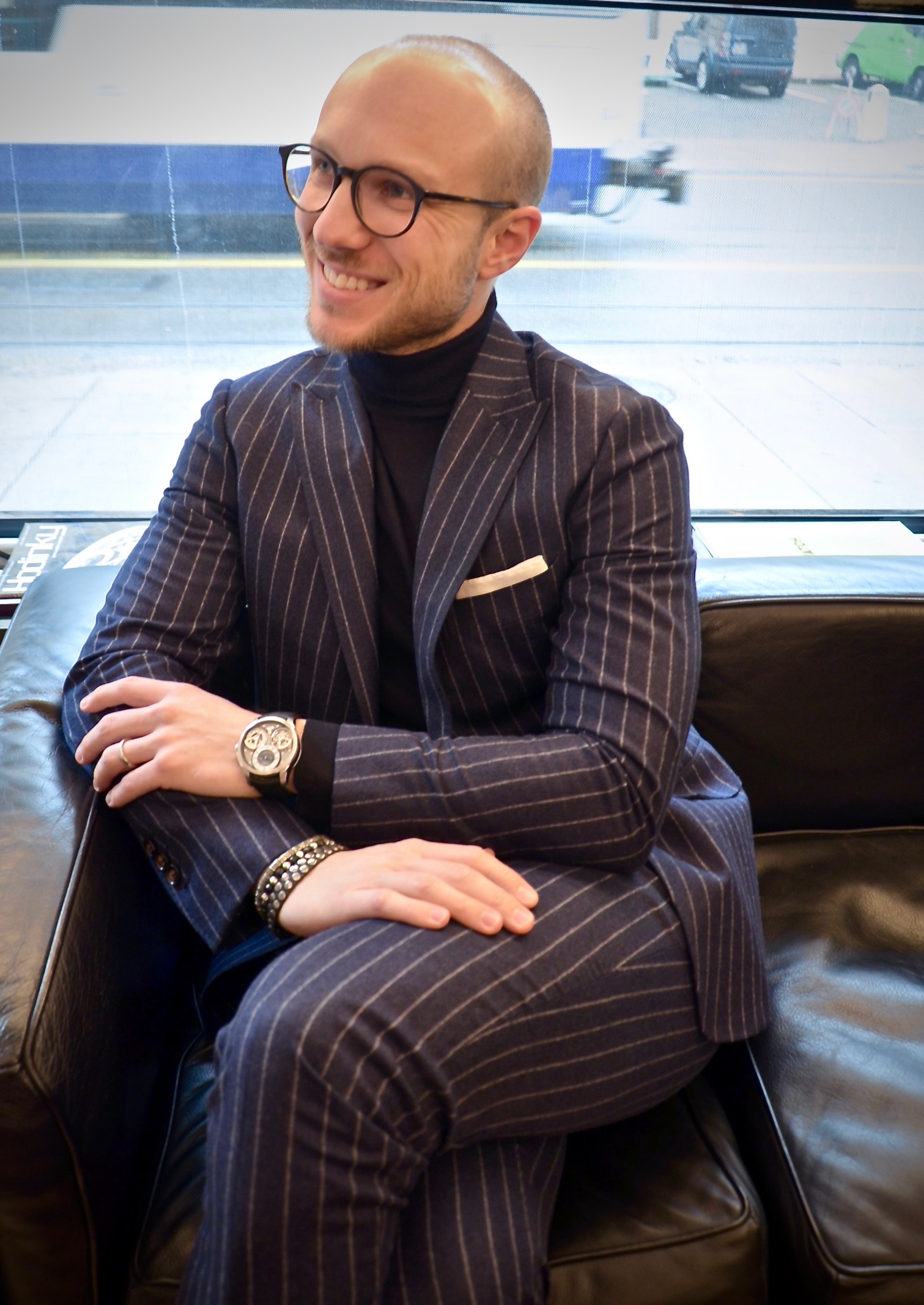 "Flannel striped suit + turtle neck + amazing watch = Happy Luca. MTM suit, private label prototype merinos turtle neck,  Czapek  ""Place Vendôme"" Tourbillon timepiece.  Photo Credit: @LucaMontini"
