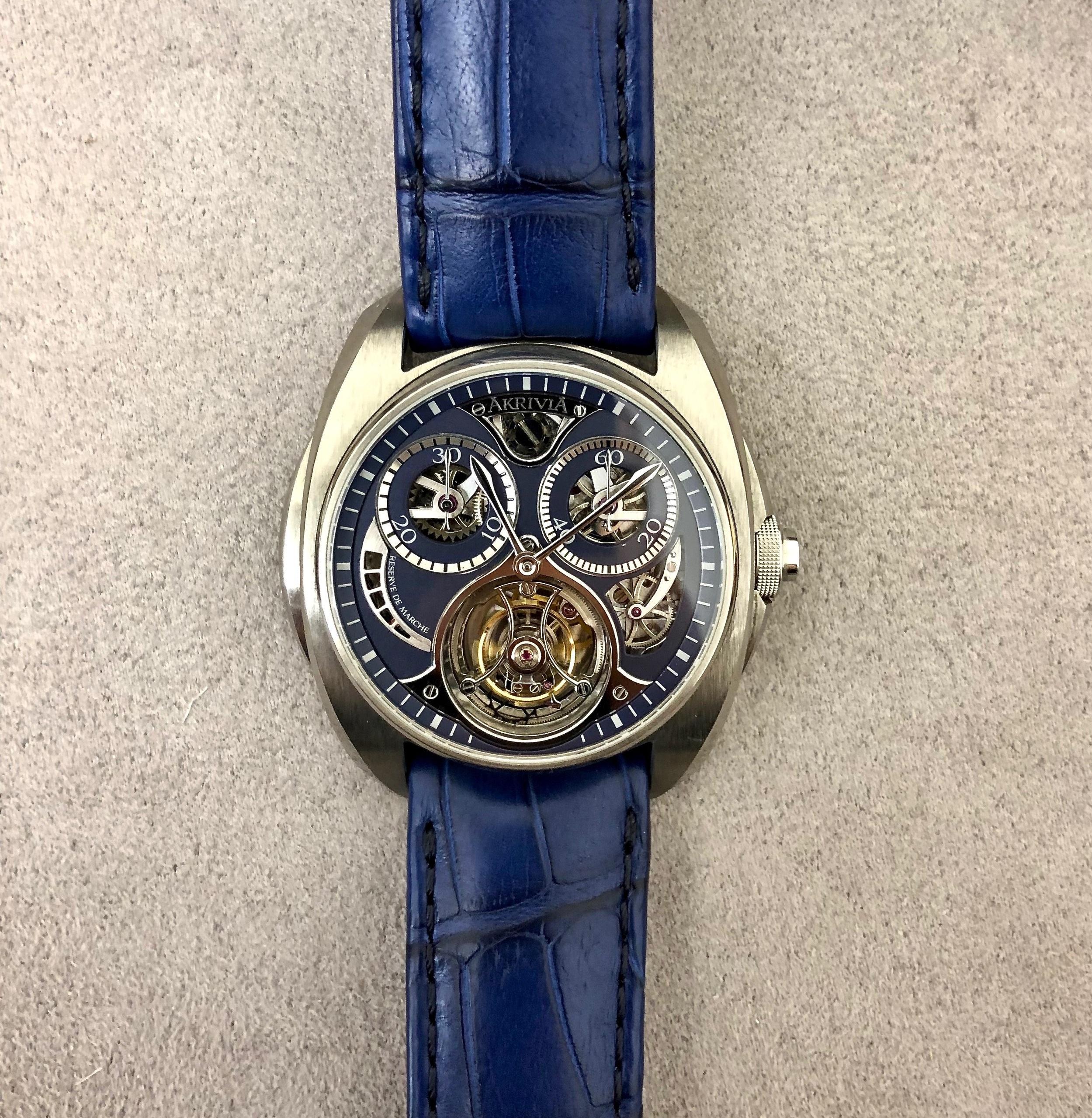 A close-up on the dial of the AK-01 Tourbillon Chronographe Monopoussoir.