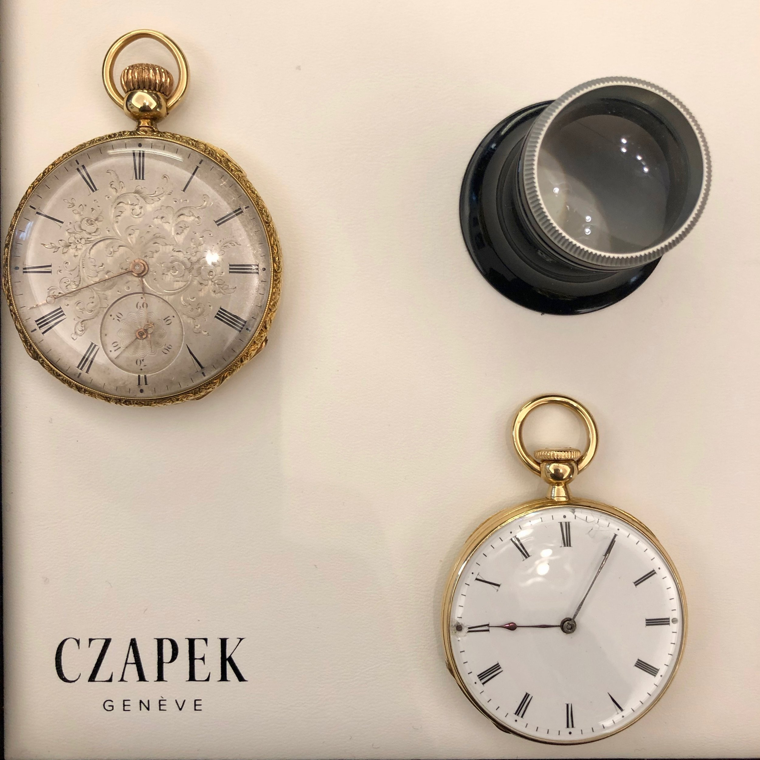 Original Czapek pocket watches from the 1850s, now part of the company's private collection.