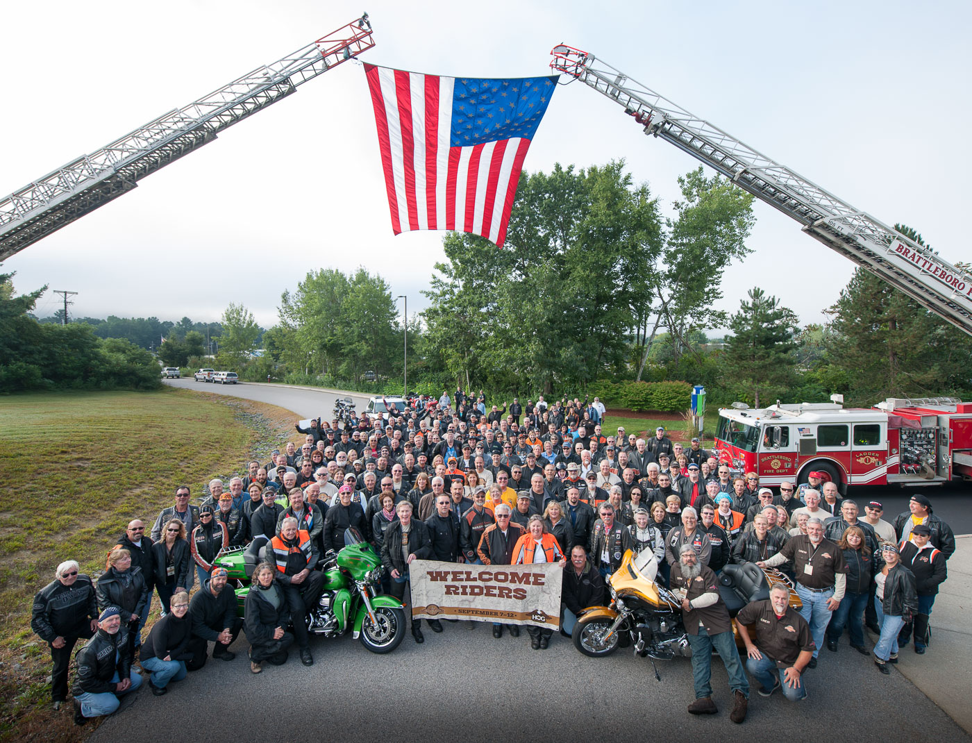 TRAILBLAZER - The New England Trailblazer was Harley-Davidson's Official 2014 H.O.G.® Touring Rally - conceptualised, organised and delivered by Saddle Tramp. Over 230 riders completed the 1,300 mile route route through Vermont, Maine, and New Hampshire, riding from red barns and covered bridges through untamed wilderness and outstanding natural beauty to the remote and rugged coastline found at the most easterly point of the mainland United States. Highlights included a sensational send off from the Brattleboro Police and Fire Departments, a spectacular firework display on Sugarloaf mountain, a moving remembrance service and flag ceremony in Bangor on 9/11 and a sensational closing night party beneath the wings of a fighter jet in Concord NH.
