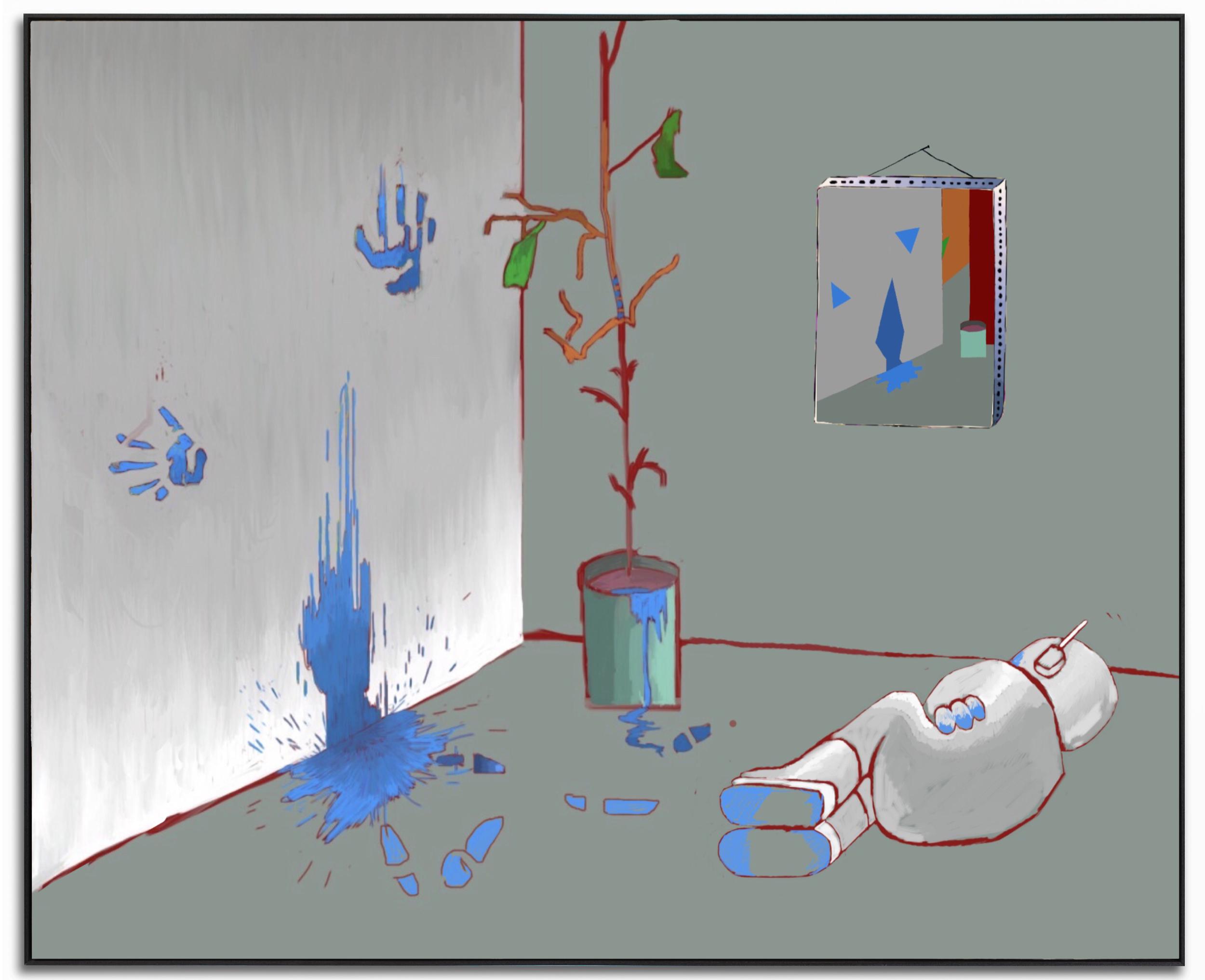 Red rum, sir, is Murder , 2019. Work in progress. Digital painting.