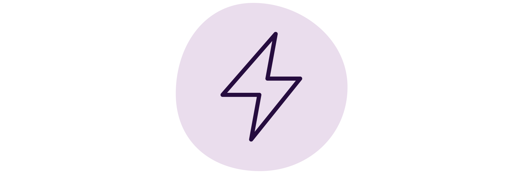 A purple, hand-drawn lightning bolt icon.
