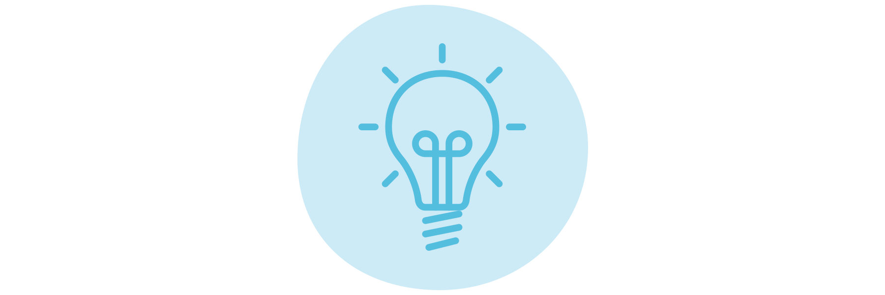 A blue hand-drawn light bulb icon.