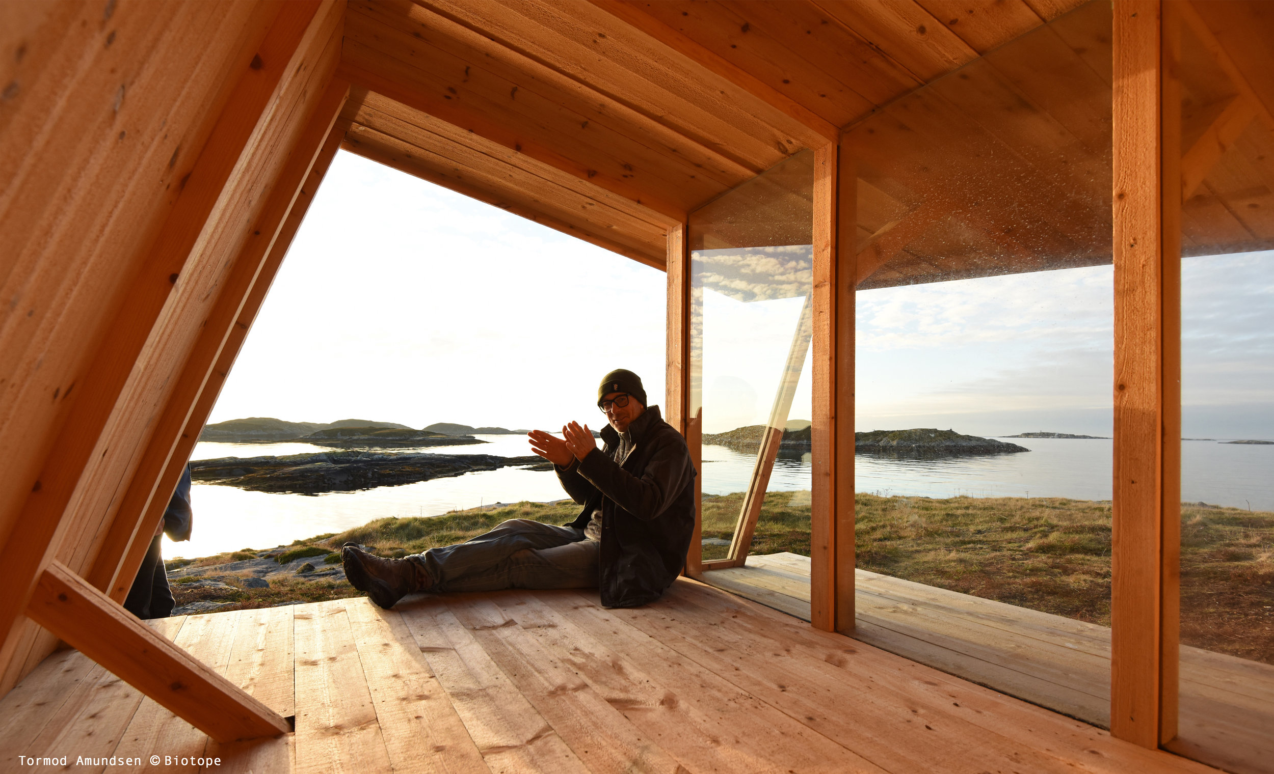 Nature Shelter © Biotope, with basic sleeping space. Bring your sleeping bag for a night outdoors!