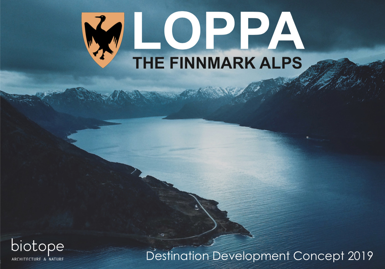 The front page of the recently delivered ´feasability study and development plan´ for the Loppa community in northwest Norway.