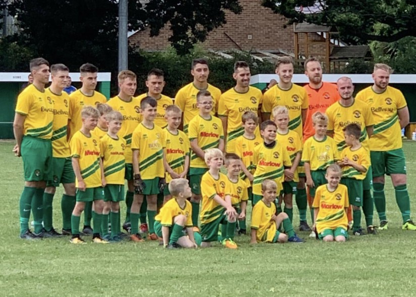Youth Mascots with Hailsham Town first team, prior to friendly against Cray Valley FC