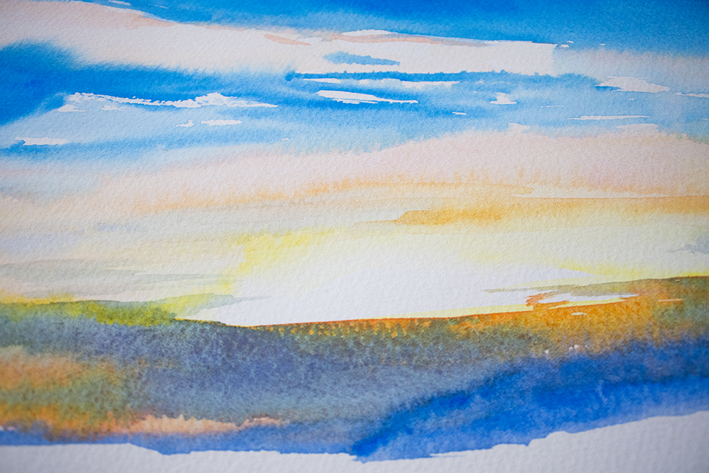 This sunset study shows how much brighter the white paper is than the yellow in the painting.