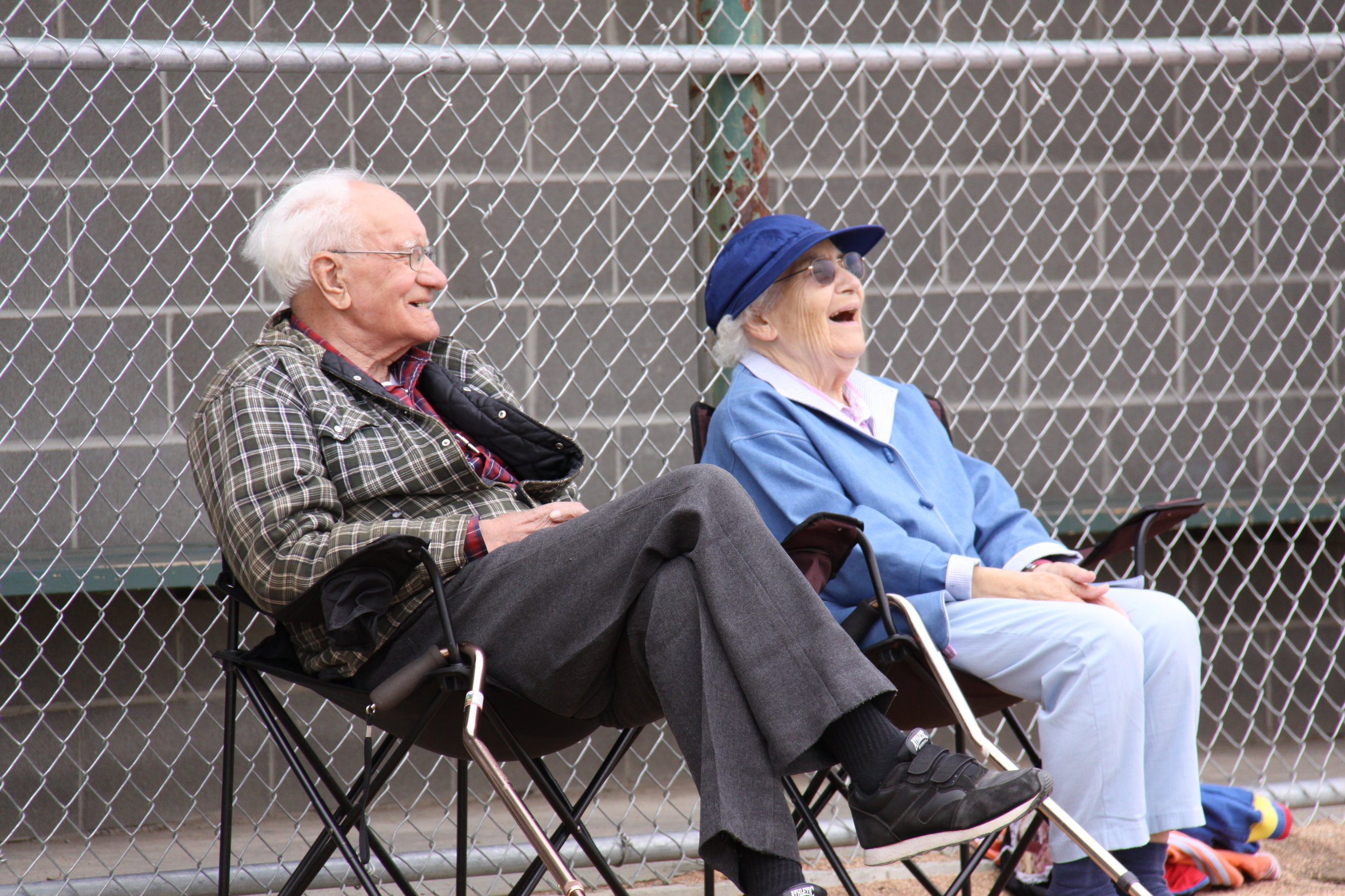 One of our favorite family memories, Grandpa & Grandma watching as the rest of us played a family baseball game.