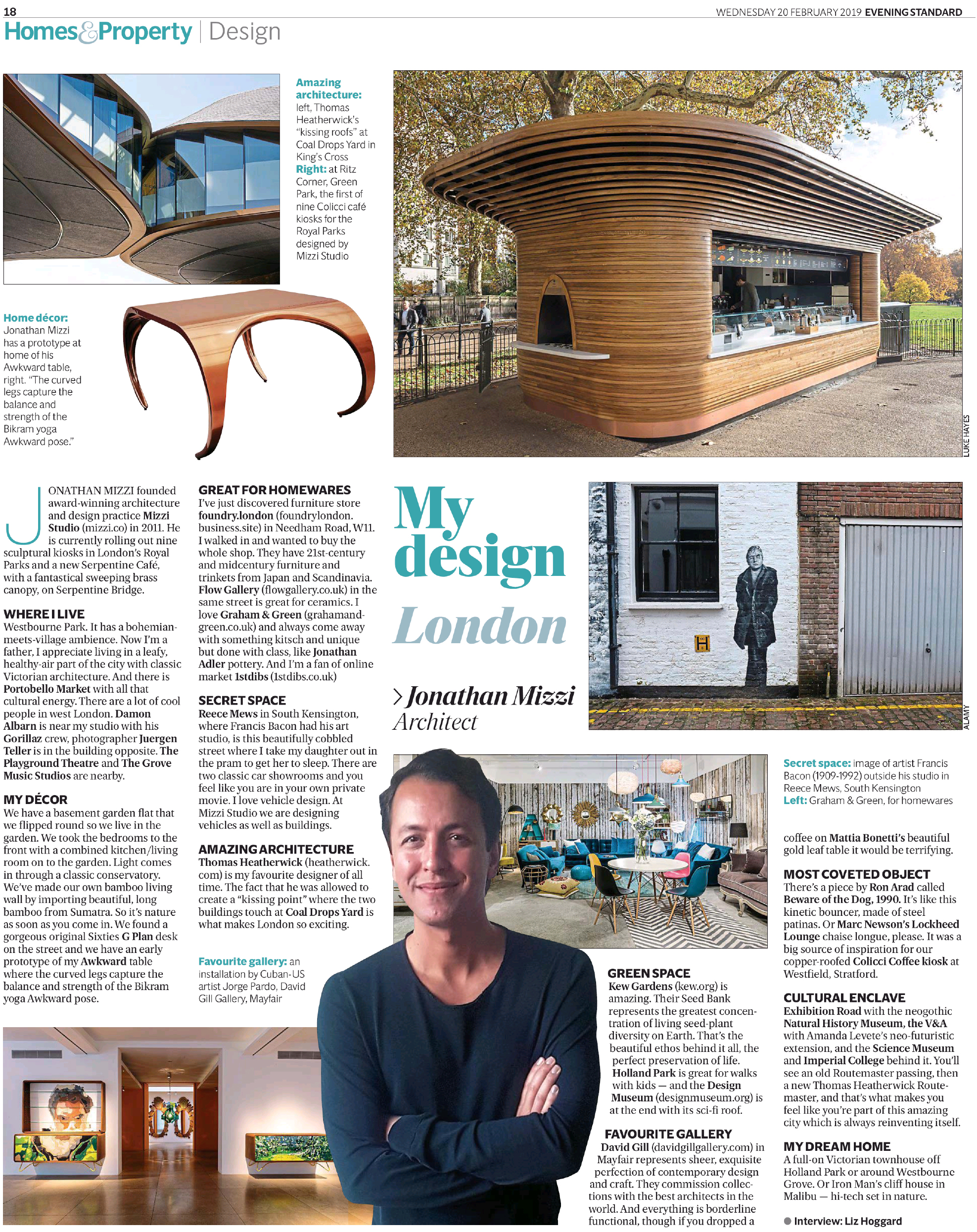Jonathan Mizzi interview My Design London Evening Standard