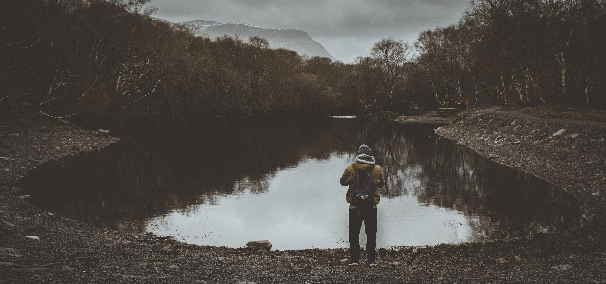 walking by a welsh lake