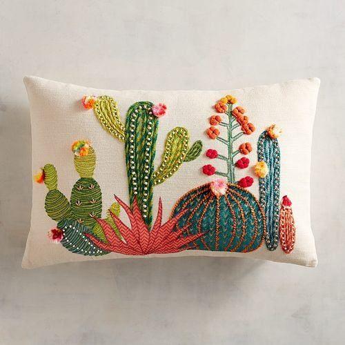 applique cactus cushion