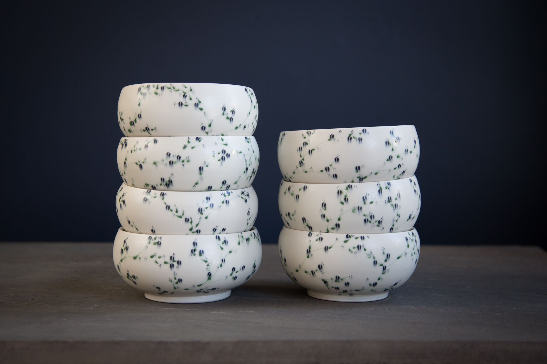 Porcelain Bowls with Green Branches