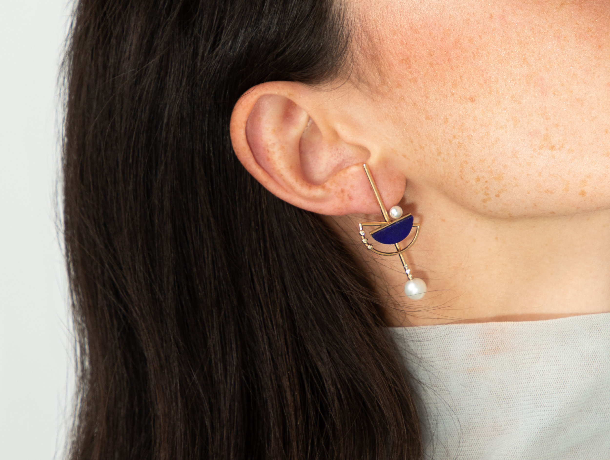 artemis  long earring a modular earring that can be worn in three lengths