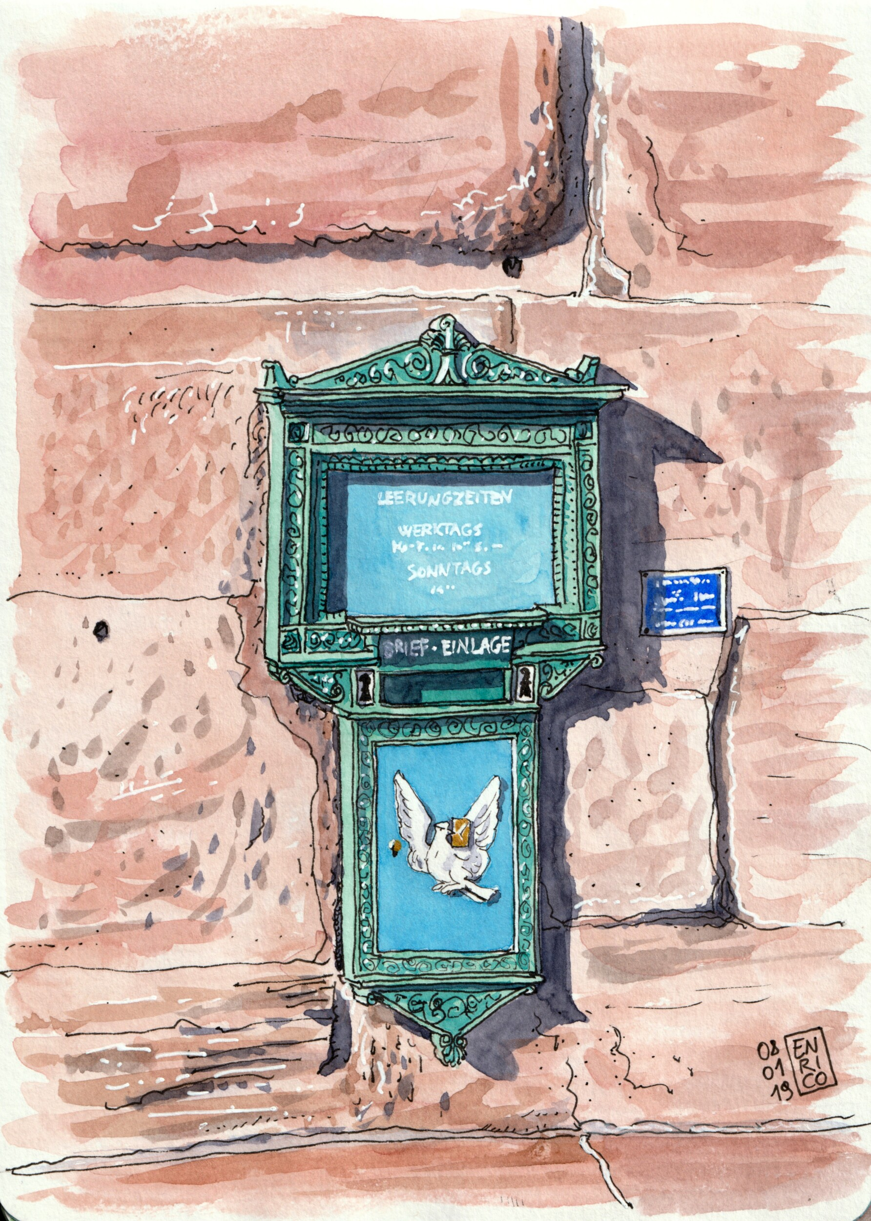 "This is one of the six ""Basel dove"" mailboxes scattered around town. They were designed in mid 19th century by a famous architect and are still in service. This one is attached to the inner side of Spalentor."
