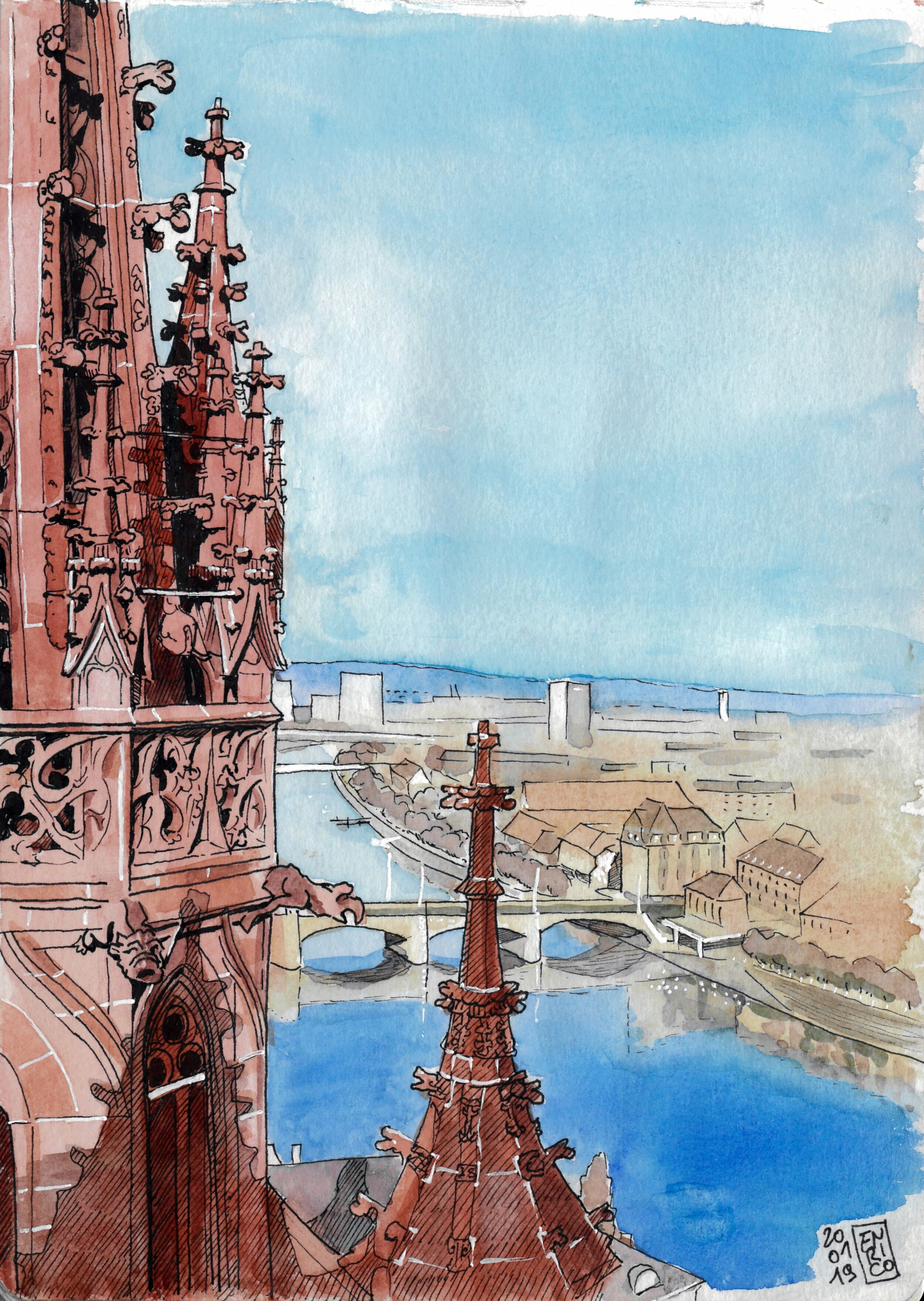 The view from the other tower of the Munster, watching downstream the Rhine. I went heavy with the ink on this one, adding more hetching than my usual. Until the last moment, I wasn't sure if adding color or let the ink only.