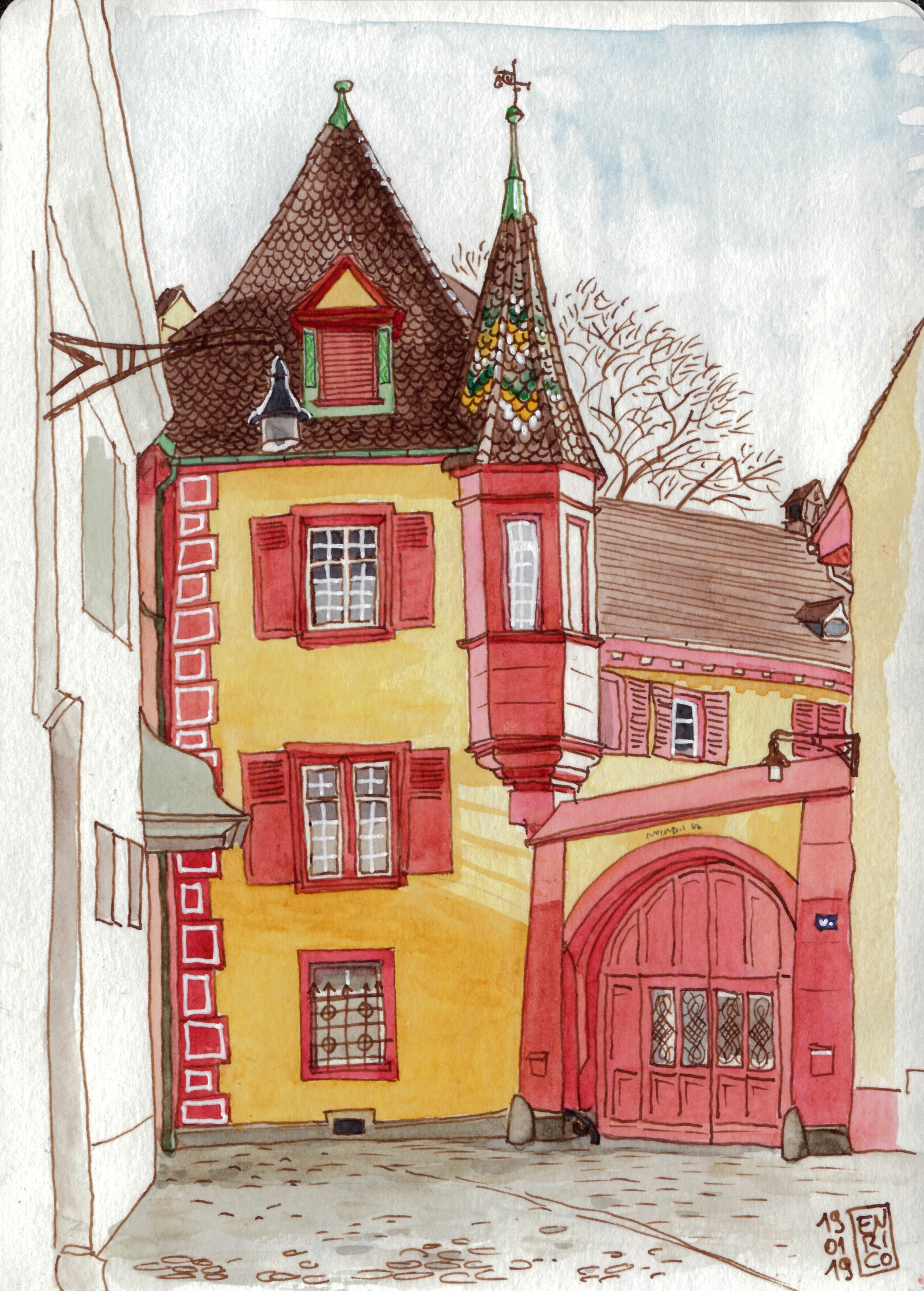 A not-so-visible halley in Grossbasel, close to Münsterplatz. Sketched it while waiting for the Münster to open.