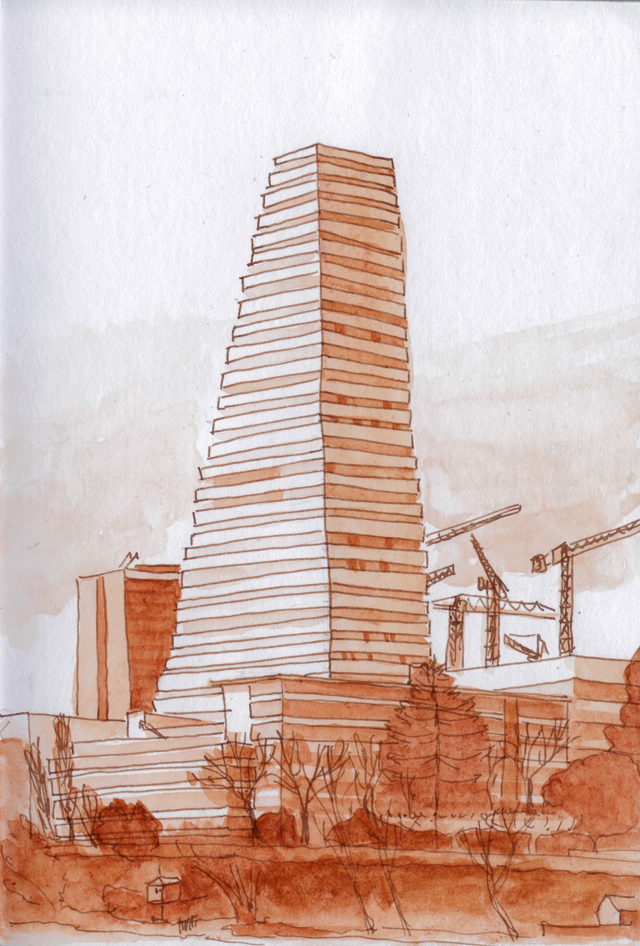 The Roche Tower. I was experimenting with DeAtramentis Sepia ink.