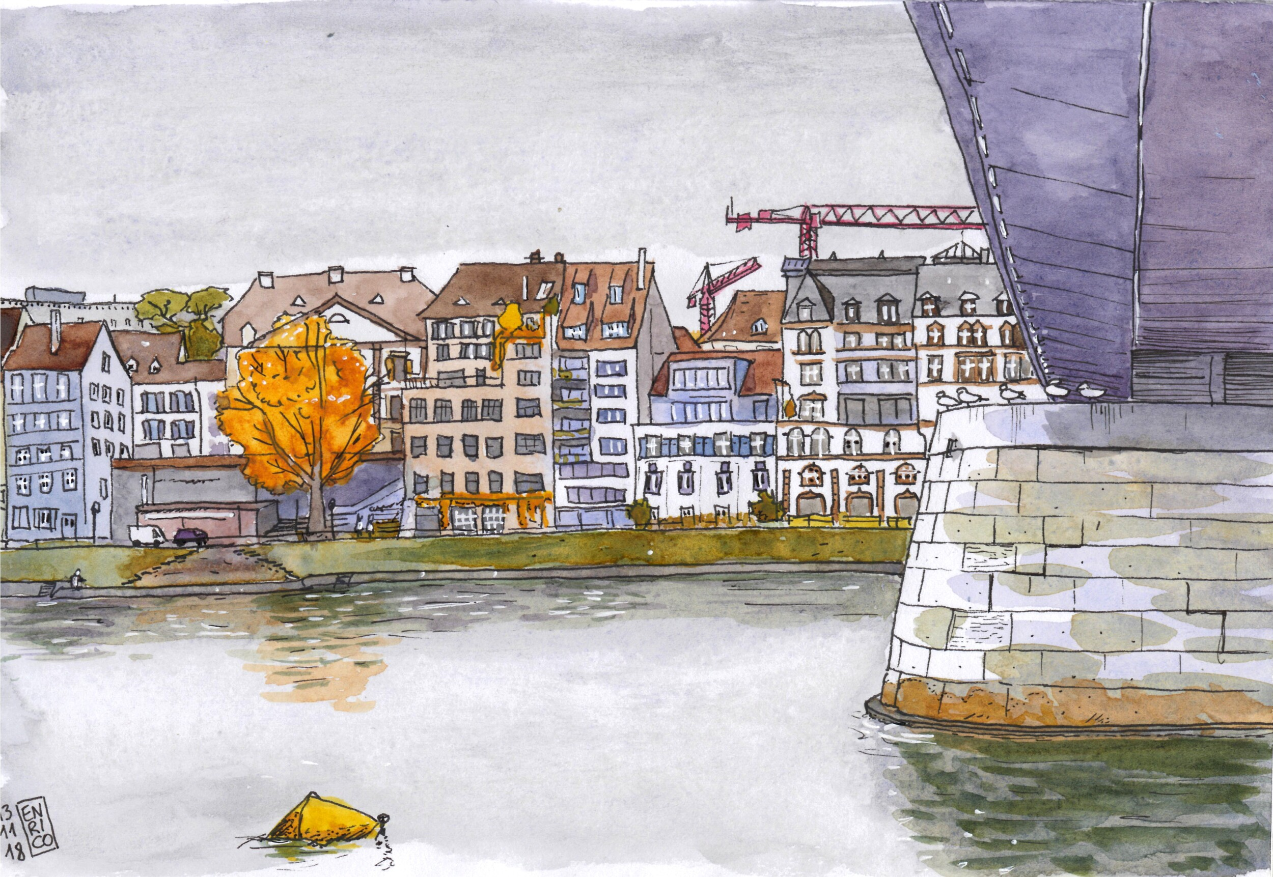 Another rainy day, so I had to sketch from under the bridge, Johanniterbrücke.