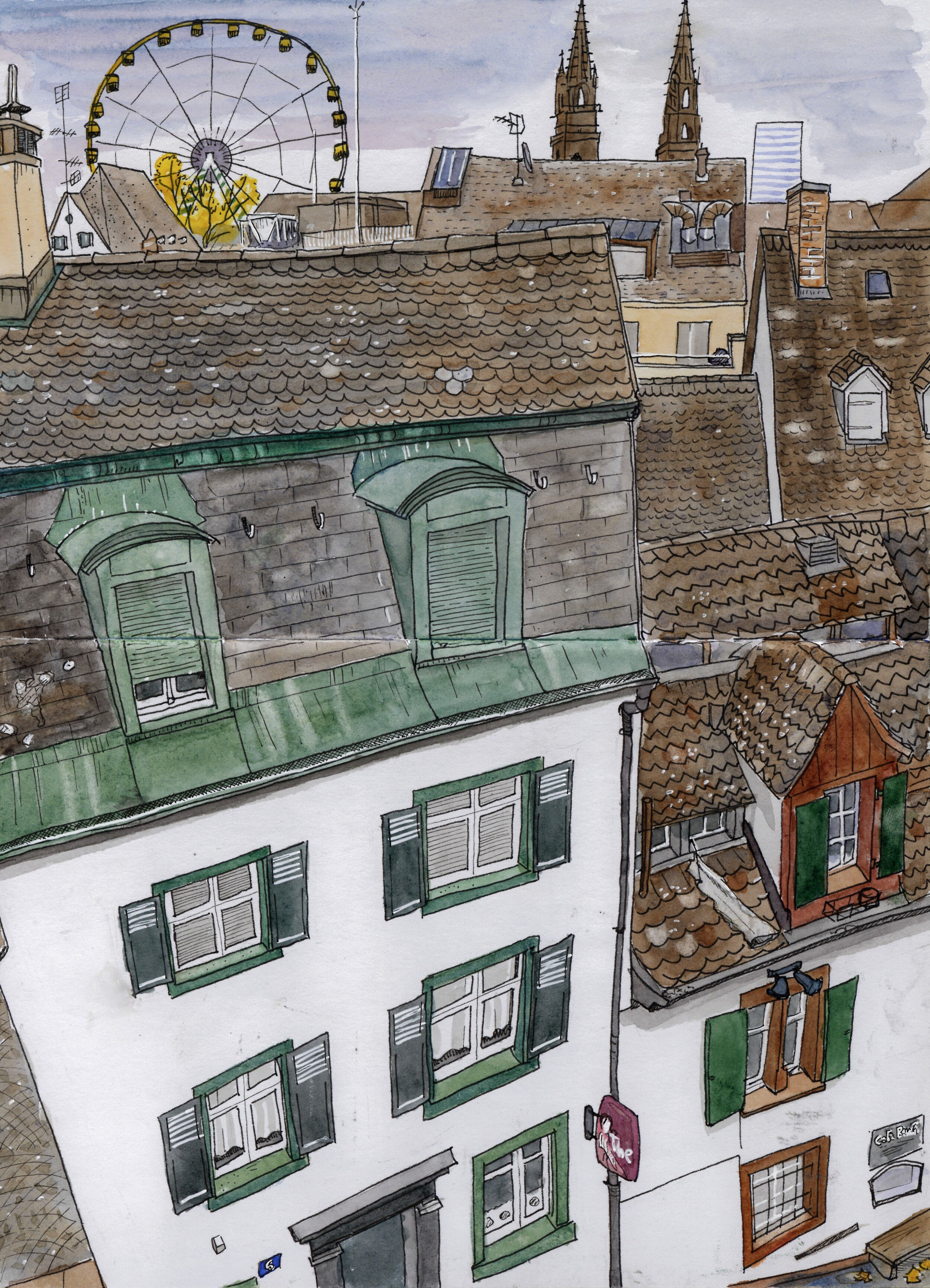 A view of the rooftops of Basel from Labyrinthplatz. I was sitting on the border of a tall wall and getting dizzy looking down.