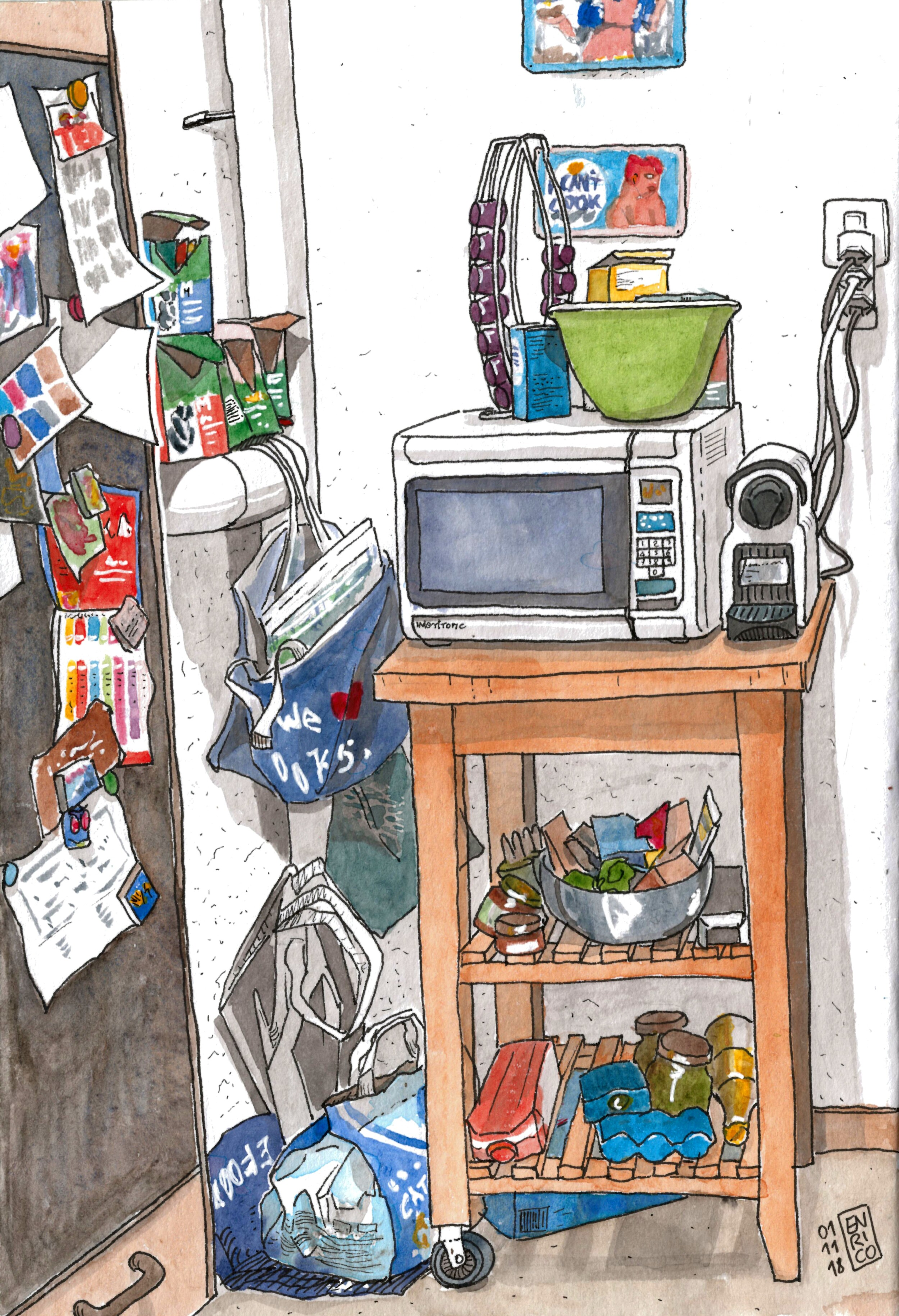 Kitchen corner with microwave and cat food. The cat decided to come and sit on top of the microwave looking at me, but it was to late to put it in the sketch as I already started inking.