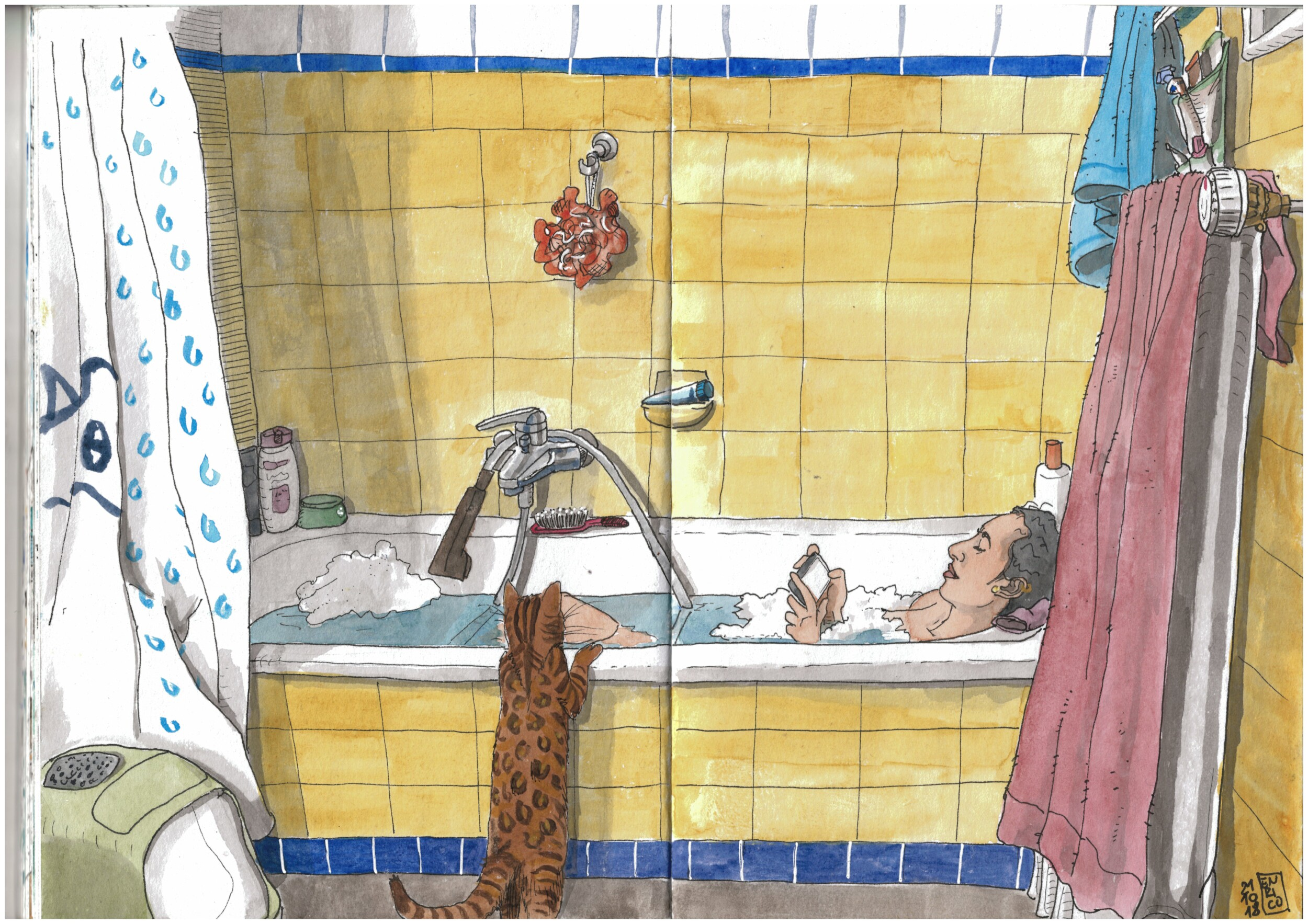 A Jazz playlist was playing, the cat was roaming around, I was sitting on the closed toilet drawing this nice domestic scene.