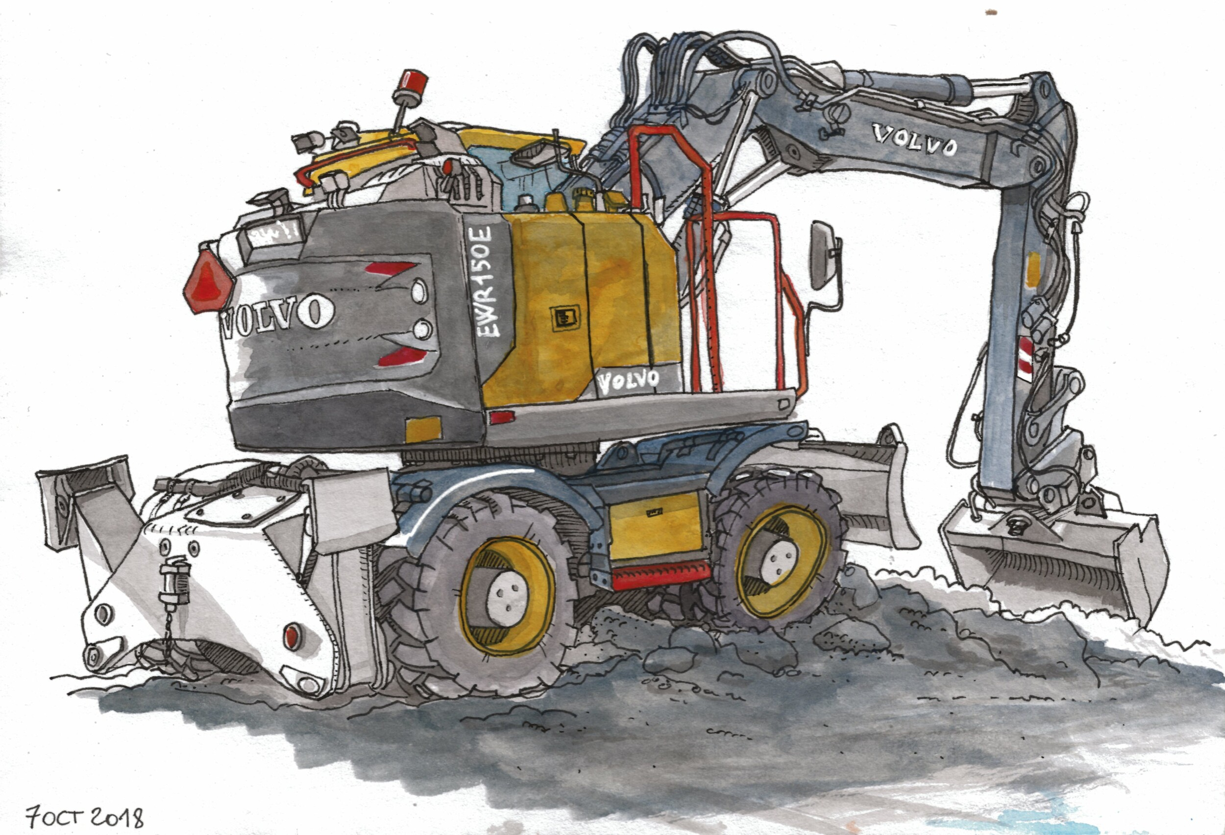There were streetworks on the street under our windows. I sketched this excavator on a Sunday afternoon while it was parked.