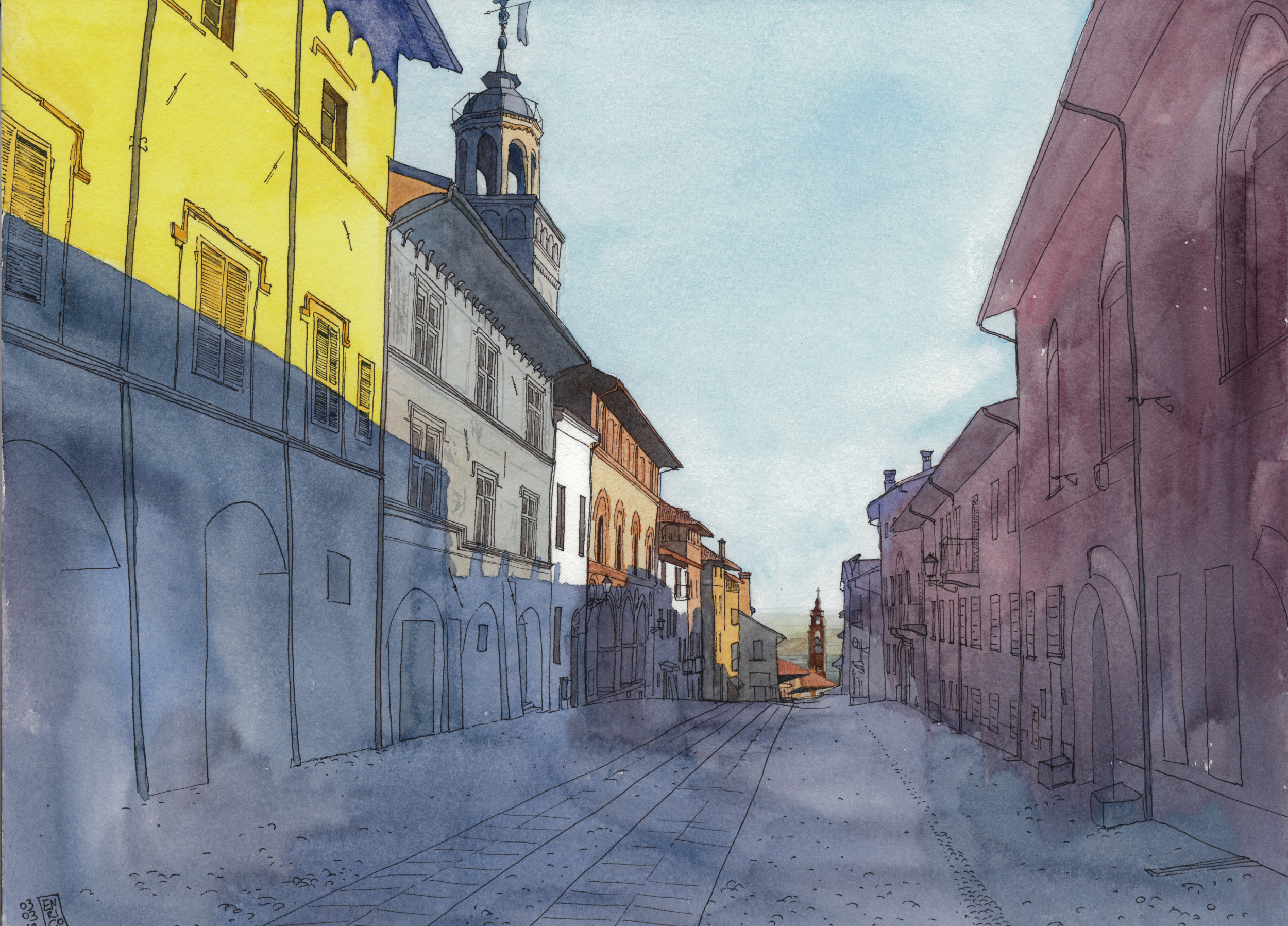 This is the oldest part of my home town, Saluzzo; I drew from a picture my father took during a morning walk. I am not used to canvas this big, A3 format, and I was really scared before coloring. I hope the anxiety goes away with time.