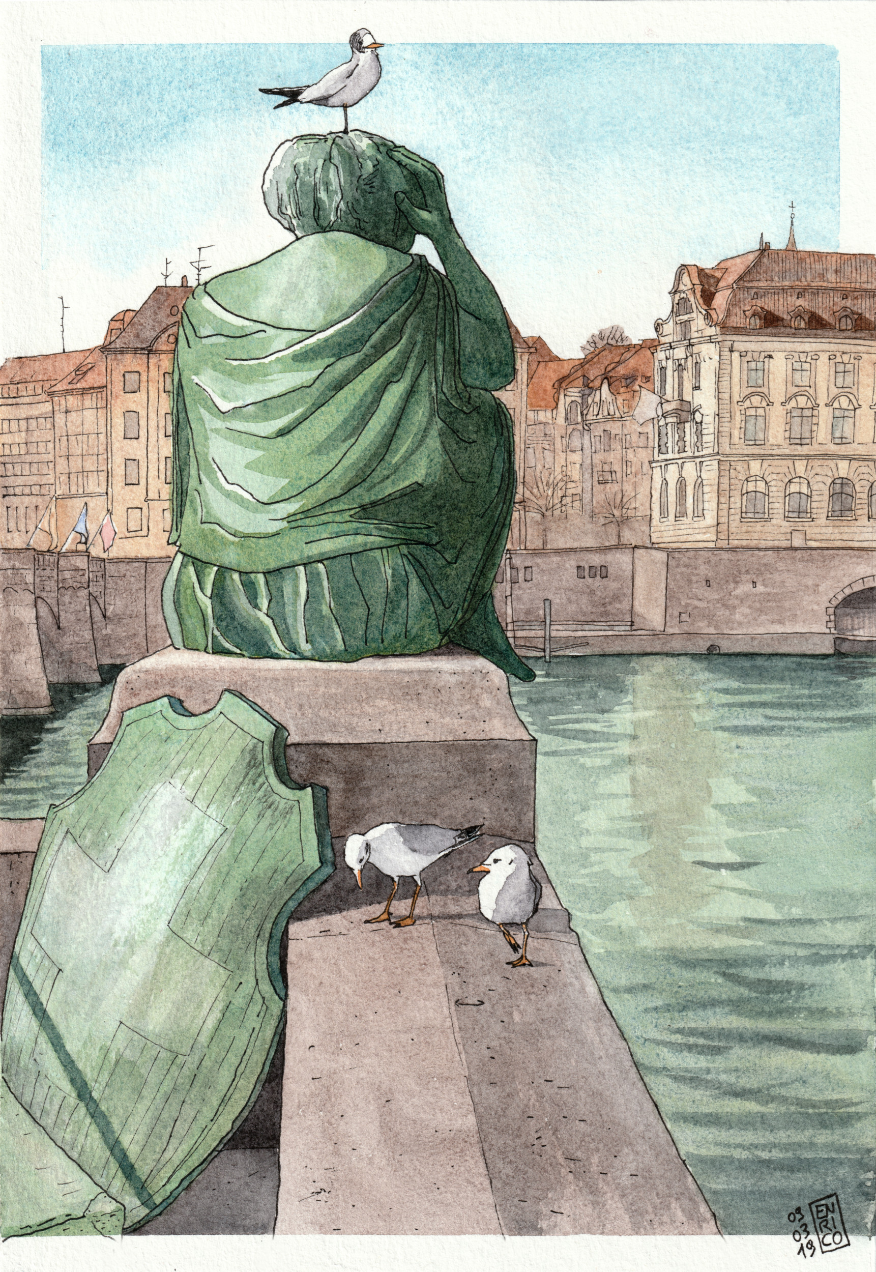 The view of the Rhine from the statue of Helvetia, with Les Trois Rois Hotel in the background. This is a bigger format painting I did for a friend of mine that lives in NY and misses Basel.