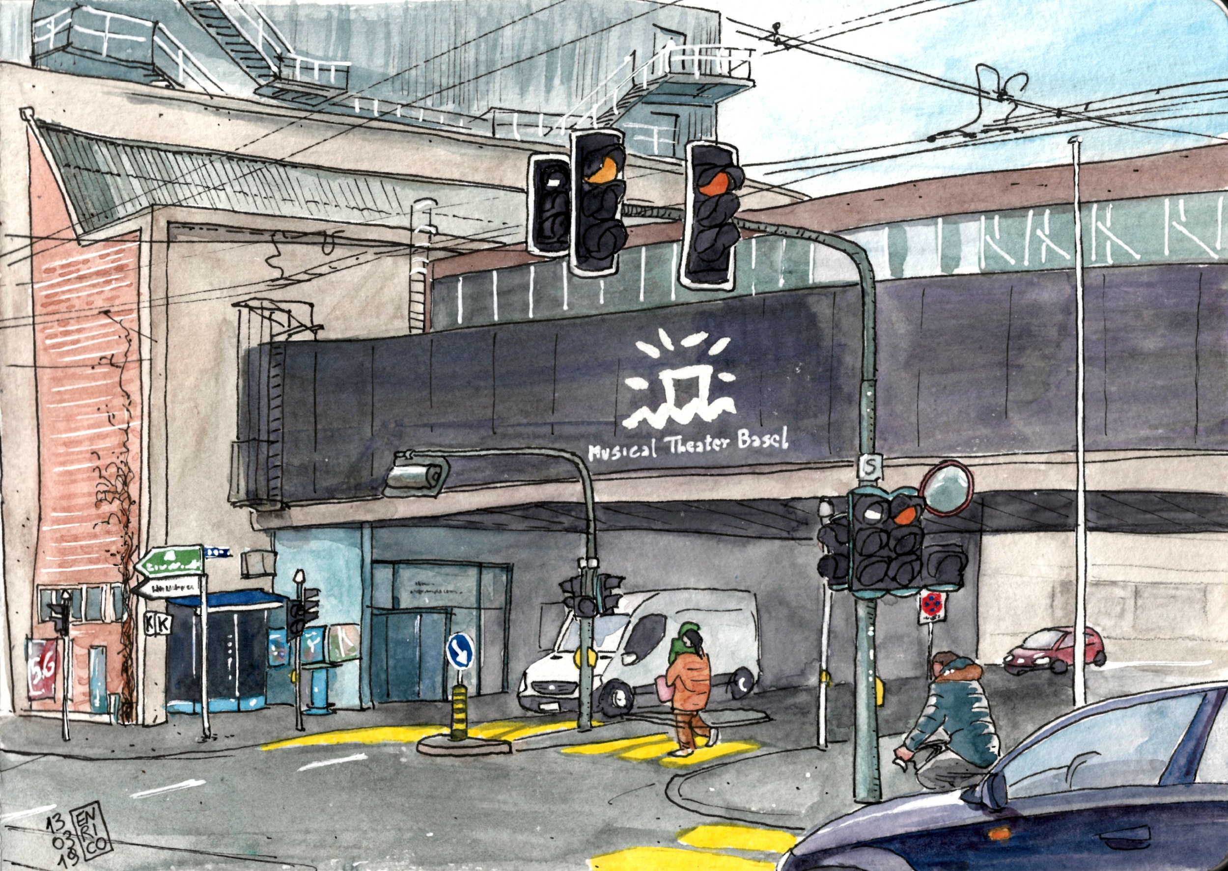 This intersection is very familiar to me, I bike under this tunnel on my way back home. I like the logo of the Musical Theater.