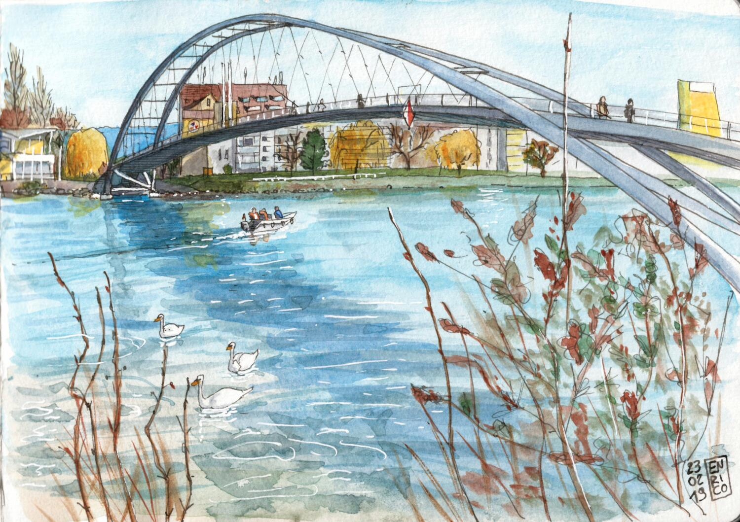 I drew this sitting in France; the other side of the pedestrian bridge is in Germany; Switzerland is few hundred meters upstream. Cool.