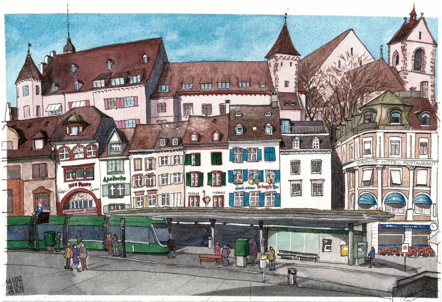 This is a commission for a friend's grandmother. She liked Basel trams. This is the tram stop in Barfusseplatz, always very busy. Behind various restaurants and bars facing the square, the Lohnhof is towering, former monastery, former prison, now museum/hotel/jazz club.