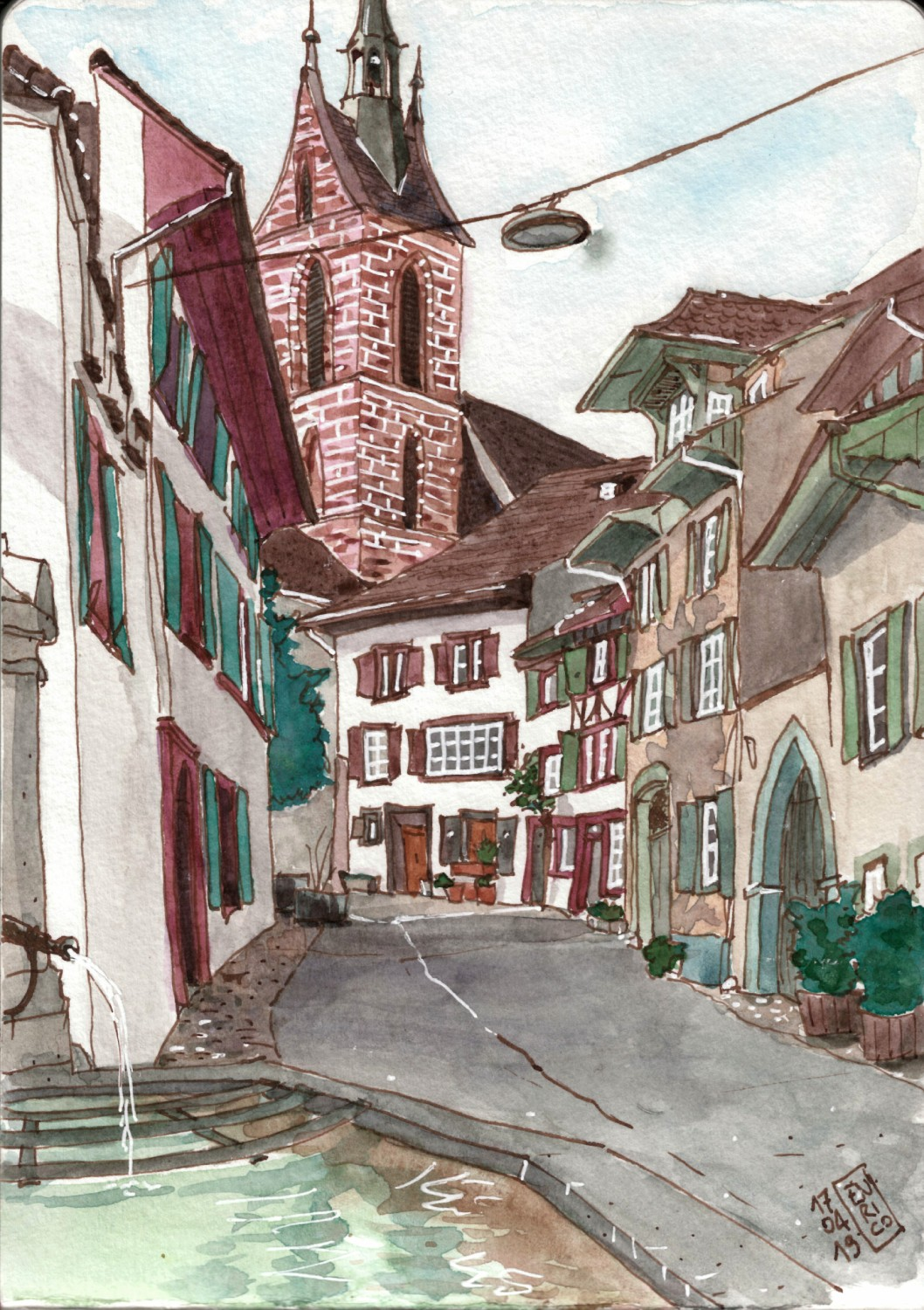 I love this street behind Peterskirche, where each house is old and beautiful. I was sketching from behind the fountain.