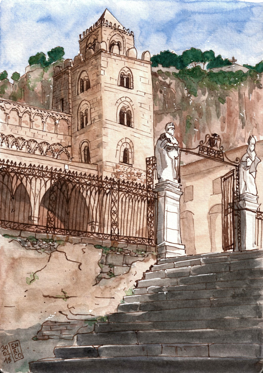 Cefalù is definitely one of my favorite places on Earth. This is its Cathedral. Instead of visiting the interior with my friends and climbing the towers, I preferred sitting under the sun outside and sketch it (the t-shirt collar gave me a funny tan line on the neck)