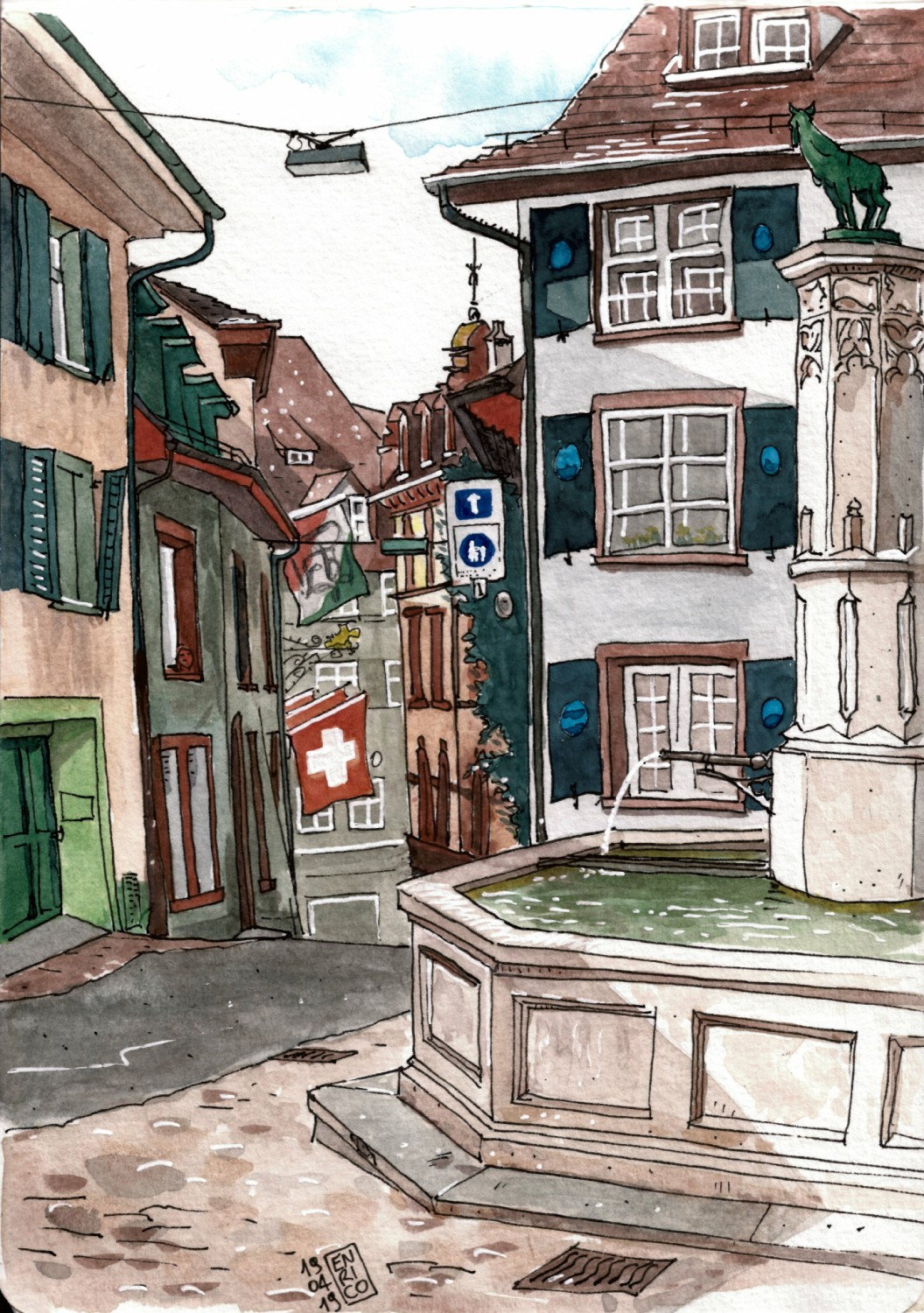 It is ridiculous how many beautiful corners there are in this part of old Basel. I could sit and draw every few meter. This little square and fountain take their name from the animal on top of the fountain.