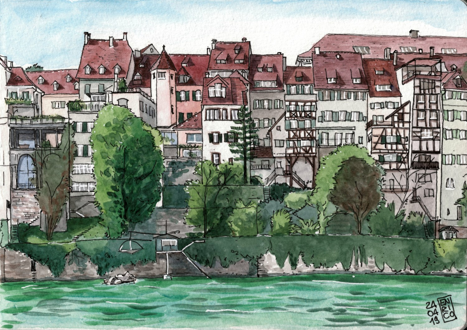 The view from the Rhine between Mittlerebrücke and the Münster.