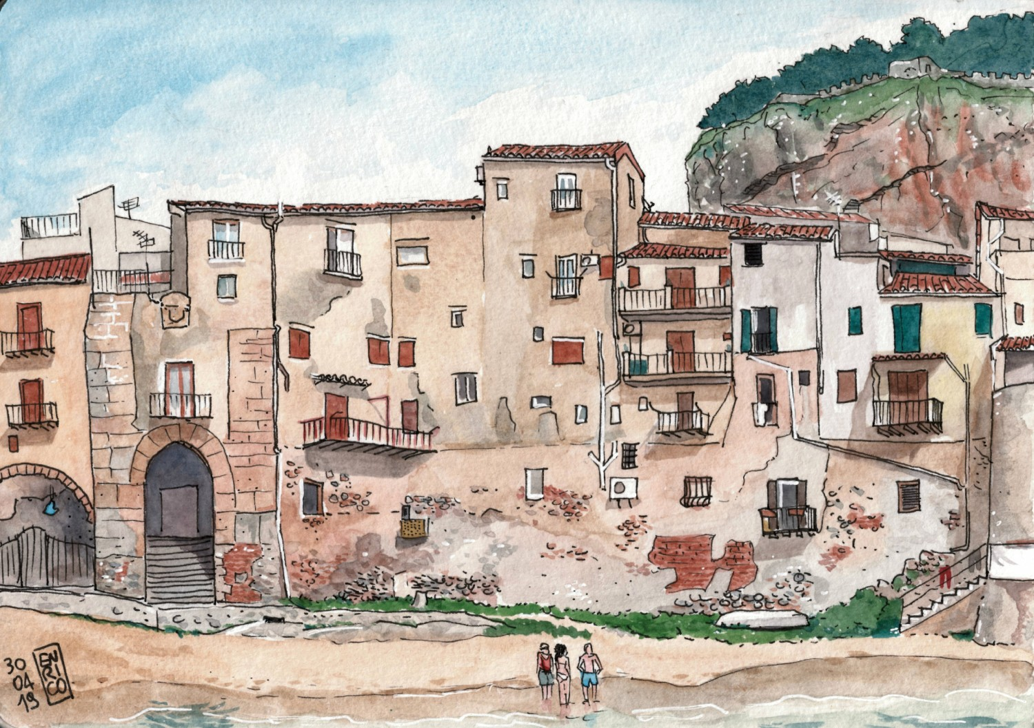 Another view of Cefalù. Houses built inside the old city walls face directly the beach here, it's amazing. You can access the beach walking through the Porta Pescara. Actually, when I sketched there were a lot of people hanging out on the beach, but I ignored them and just left my friends...