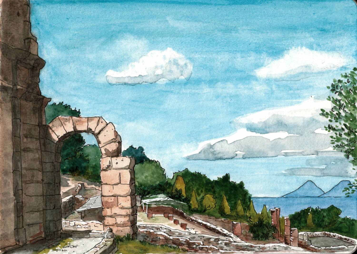 The Archaeological Park of Tindari is a great place. There are remains of the city built by Greeks and further expanded by Romans. The view from here is spectacular. Unfortunately I botched the sky while coloring, and therefore I need to go back there and draw again.