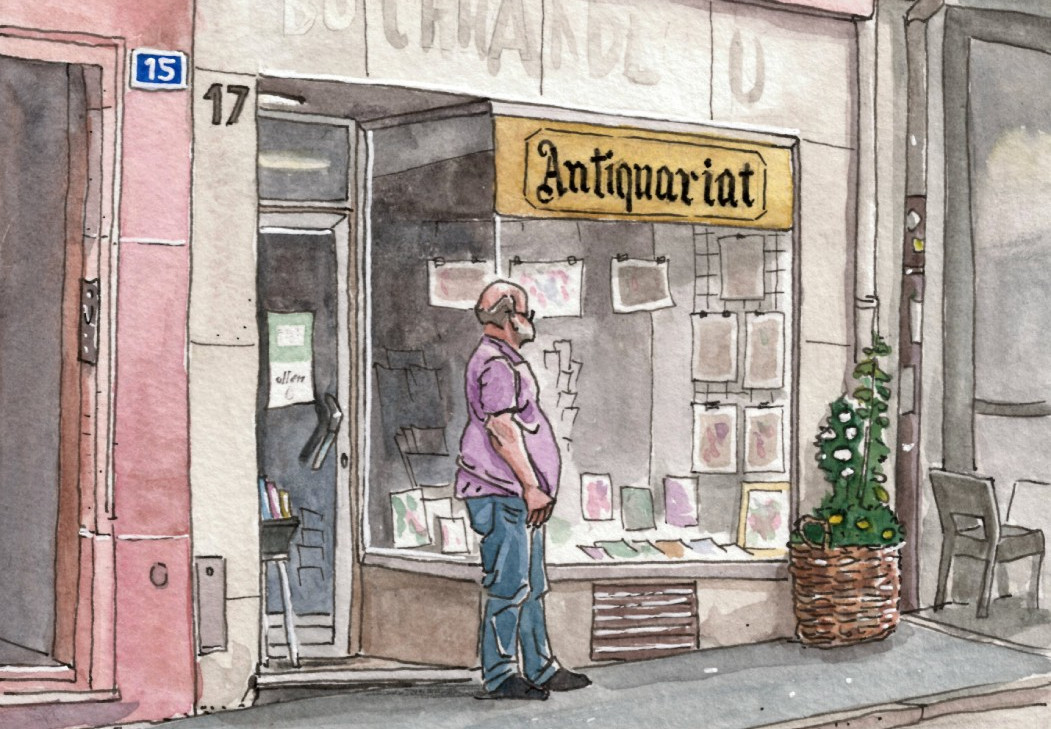 The antiquity shop and its owner - This is the hero of the story, in front of his shop, unknowingly drawn by me few days later when i returned to the area.