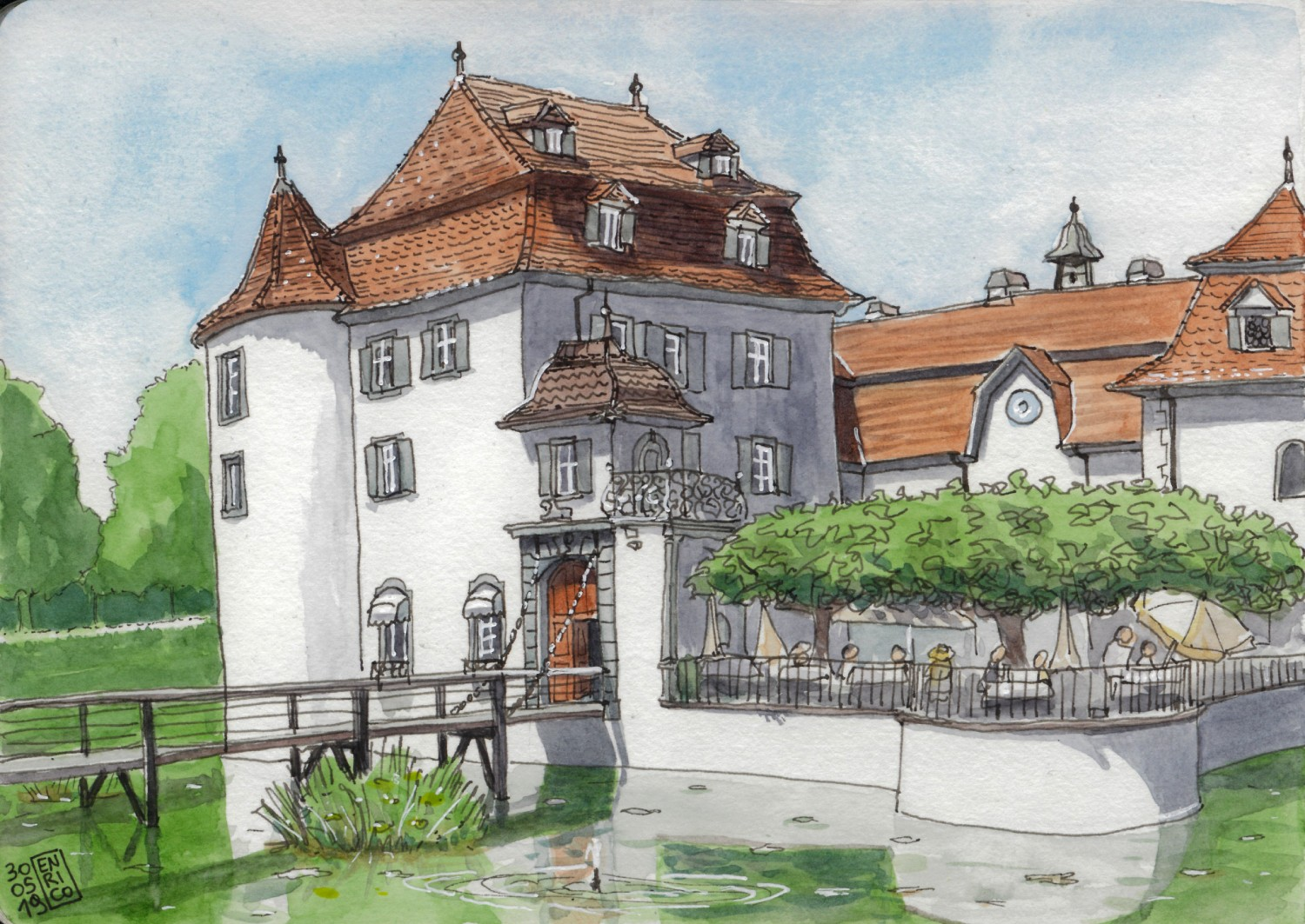 Bottmingen castle, just outside Basel. There is a fancy restaurant inside. We arrived by bike, had lunch in the park, and I sketched the castle before having a coffee on the terrace, under those trees.