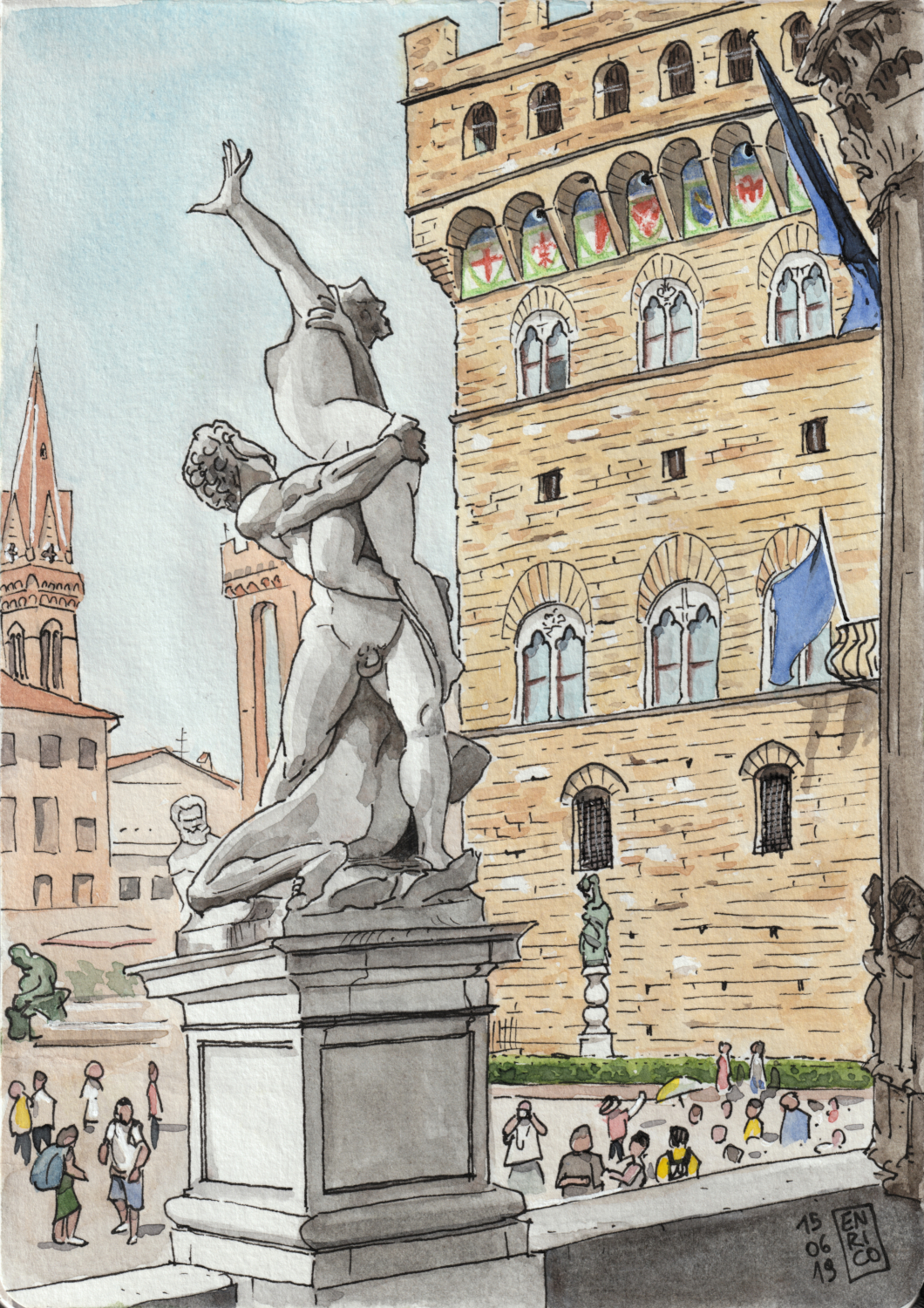 I sat under the Loggia dei Lanzi, in Piazza della Signoria, and I sketched the view from behind the Rape of the Sabine Women. This statue is unbelievable, beautiful from every side.