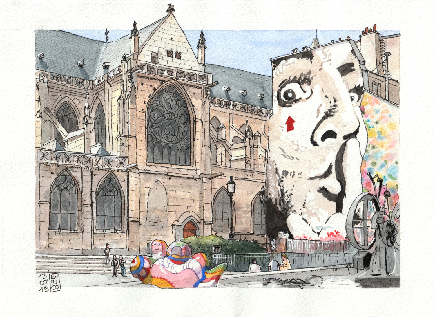 Just beside Centre Pompidou in Paris, there is an amazingly diverse square: the gothic church of Saint-Merri, a big murales with moustacheless Dali', a fountain with Tinguely machines and Niki de Saint Phalle colorful figures. I got to sit and sketch there, while my friends visited the museum.