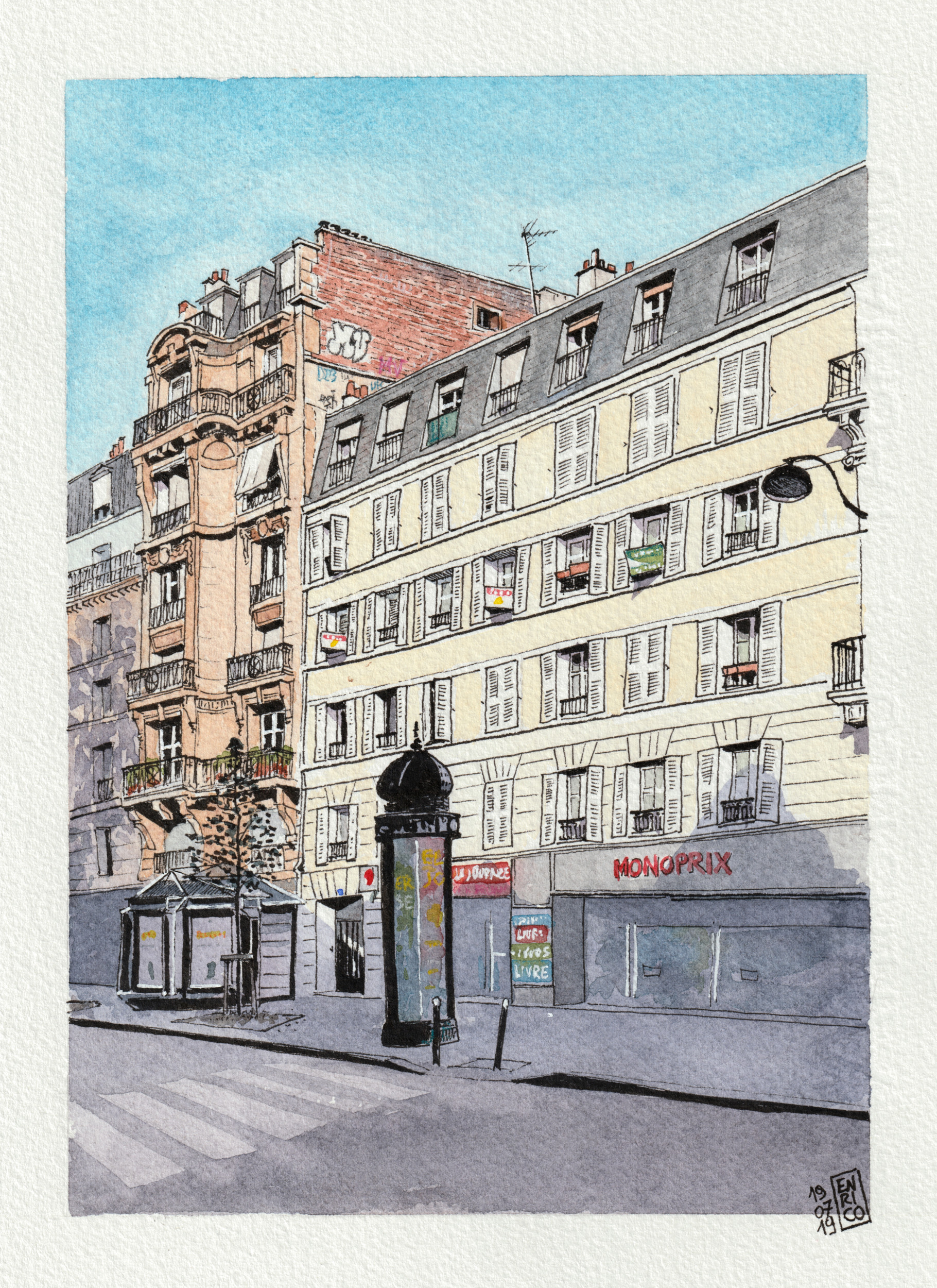 Friends of mine used to live in this building when they were in Paris. They knew I was about to visit Paris and they asked me to go there and sketch it.